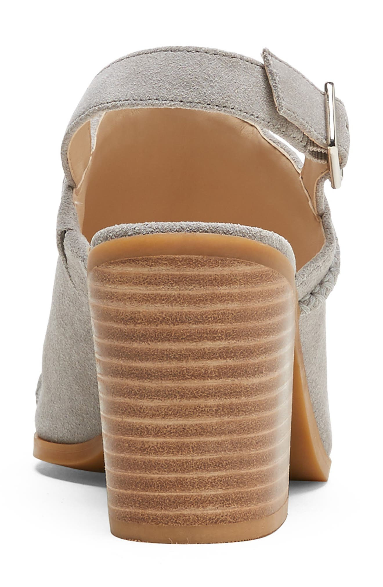 SOLE SOCIETY, Ceana Slingback Sandal, Alternate thumbnail 4, color, SOFT GREY SUEDE