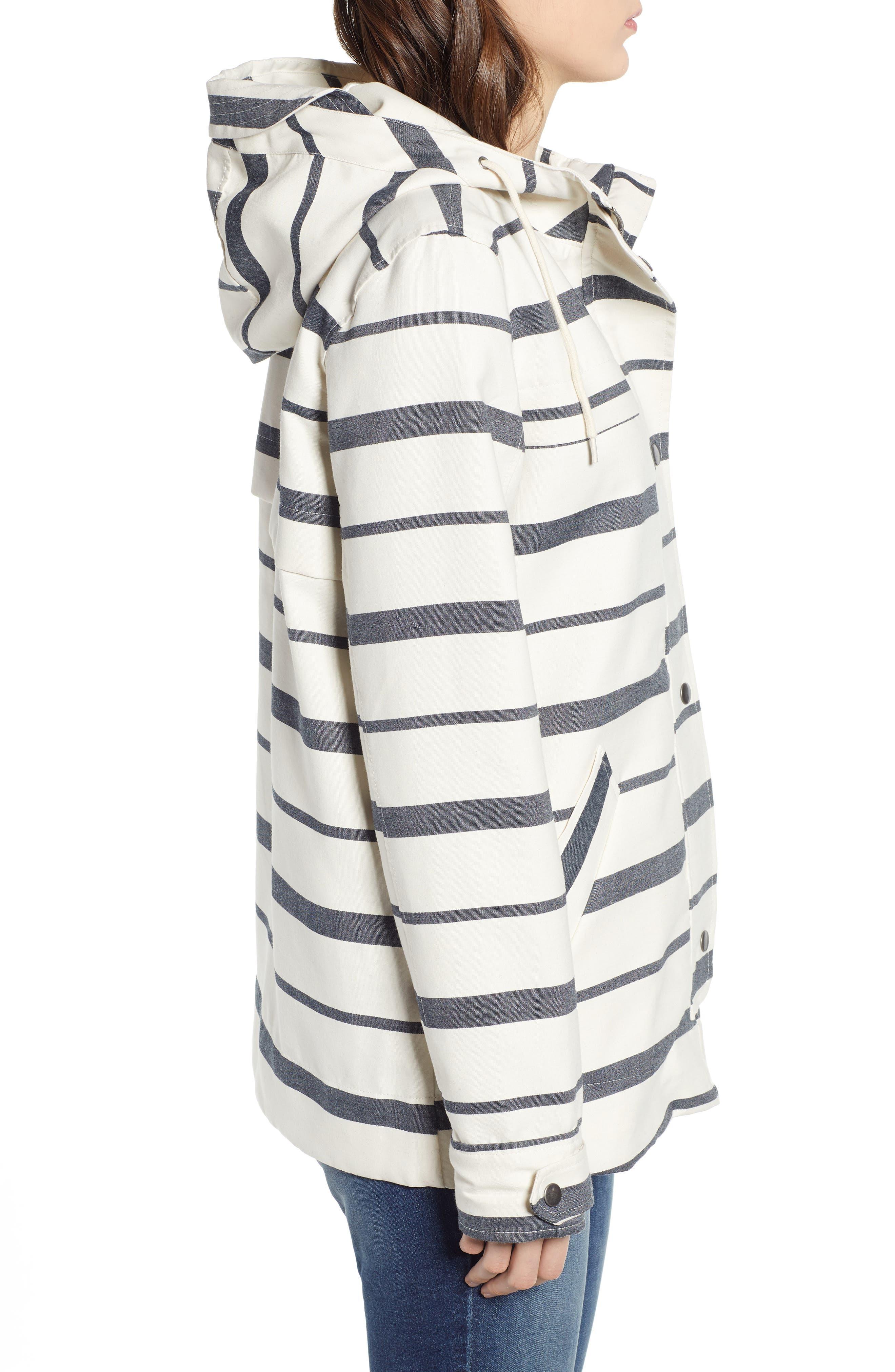 THREAD & SUPPLY, Portside Rain Jacket, Alternate thumbnail 3, color, BLACK WHITE STRIPE