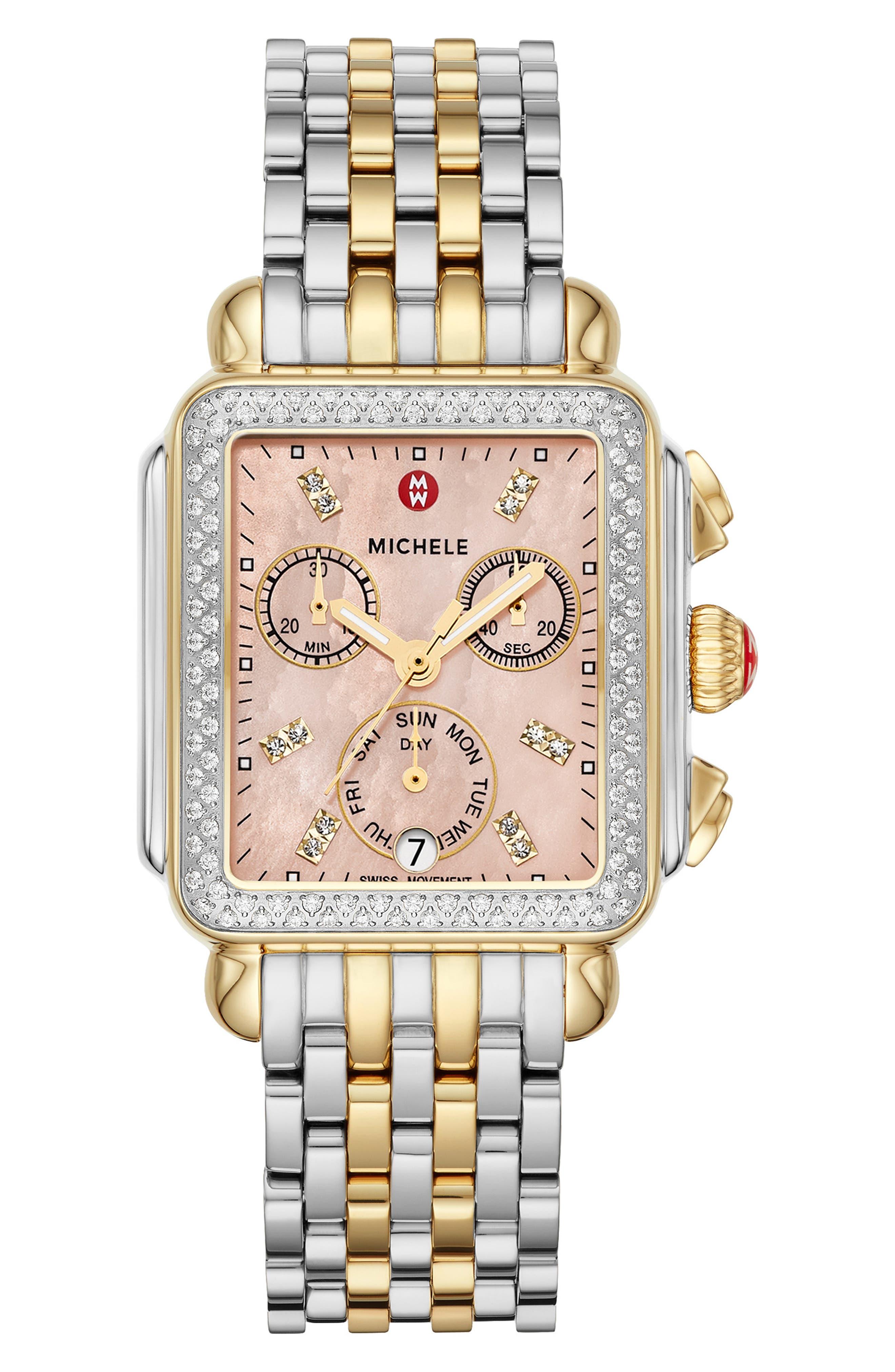 MICHELE, Deco 18mm Two-Tone Bracelet Watchband, Alternate thumbnail 3, color, SILVER/ GOLD