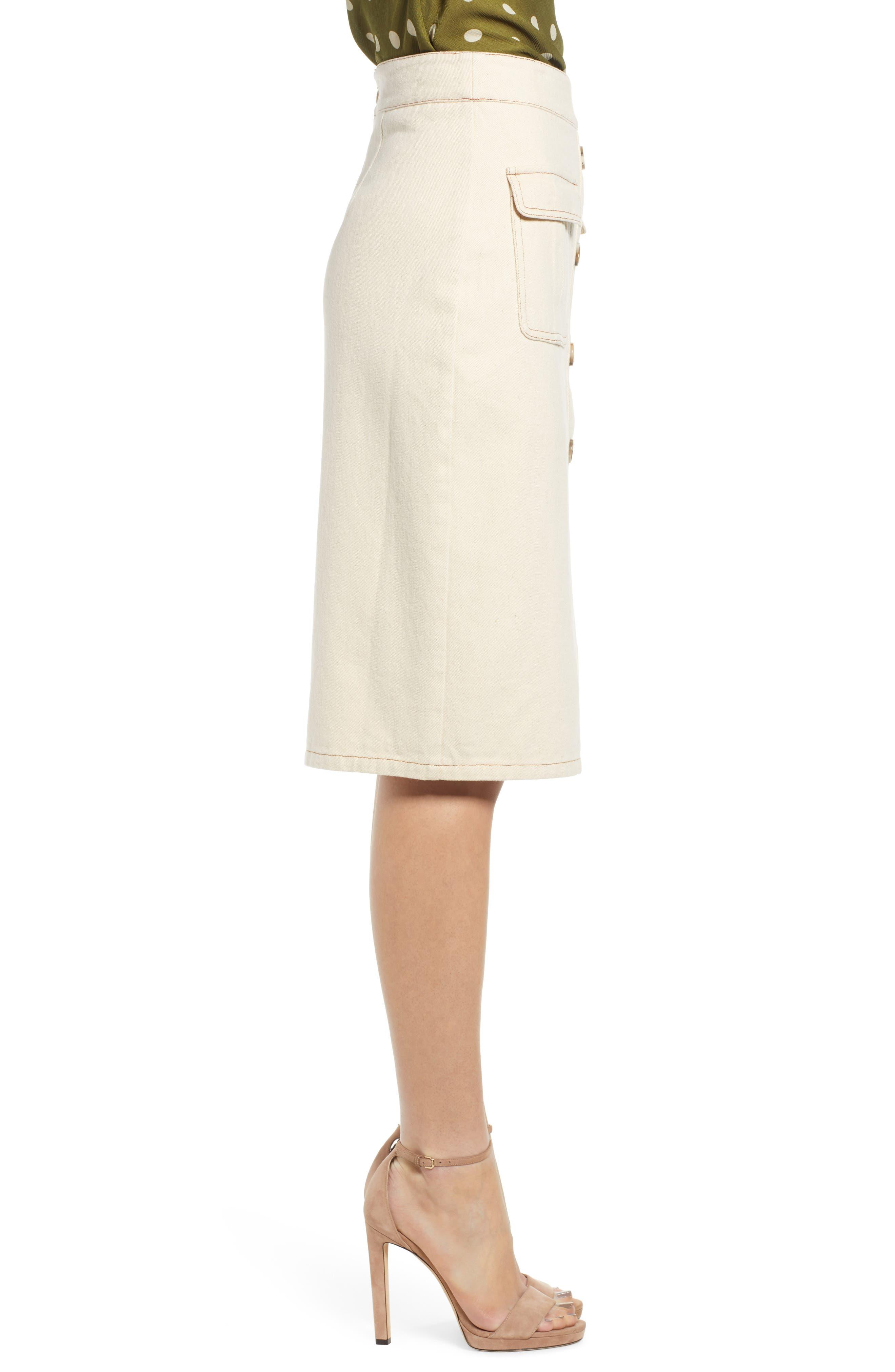 CHRISELLE LIM COLLECTION, Chriselle Lim Marine Midi Skirt, Alternate thumbnail 3, color, BONE