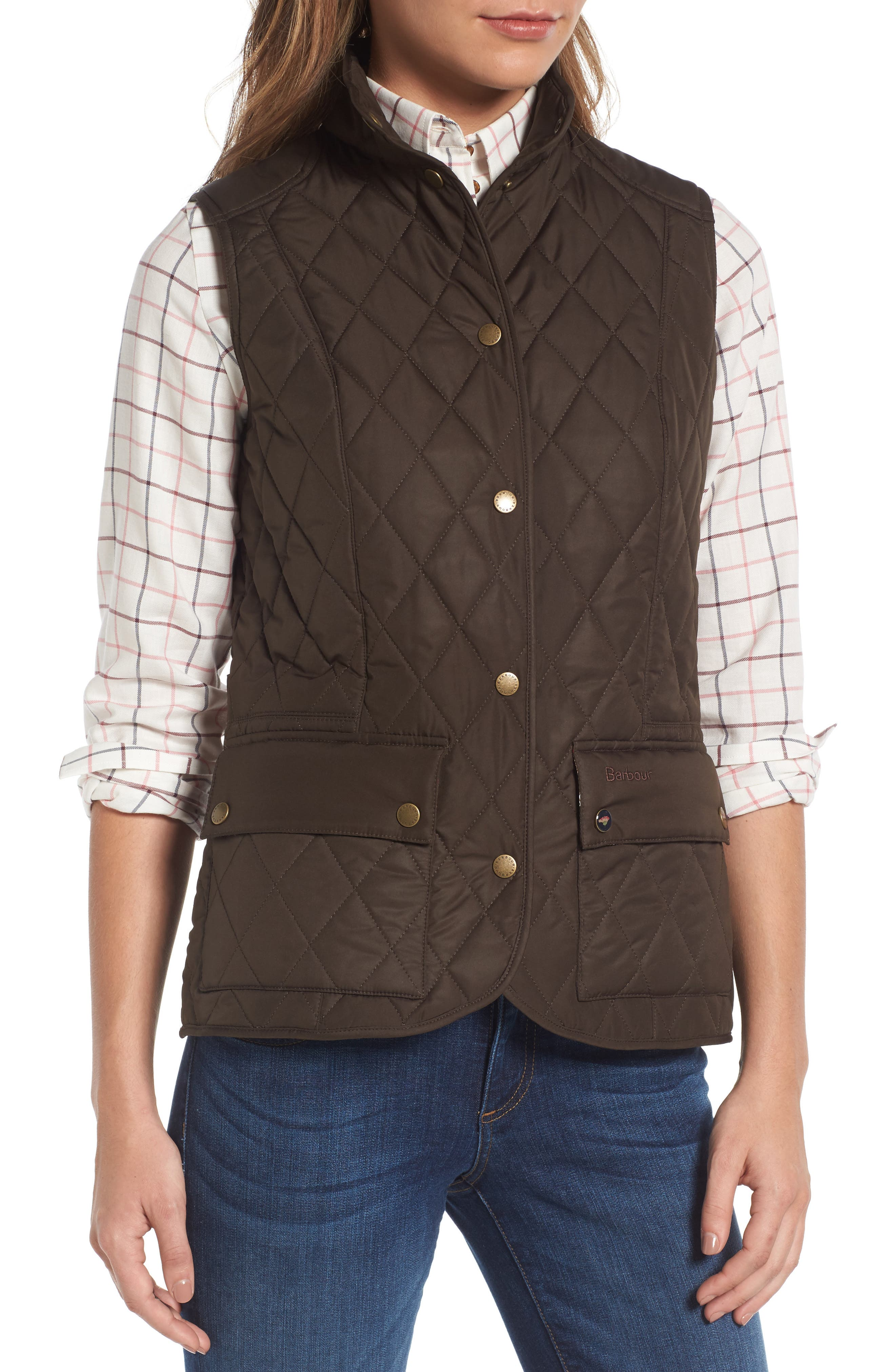 BARBOUR, Saddleworth Quilted Vest, Alternate thumbnail 4, color, 340