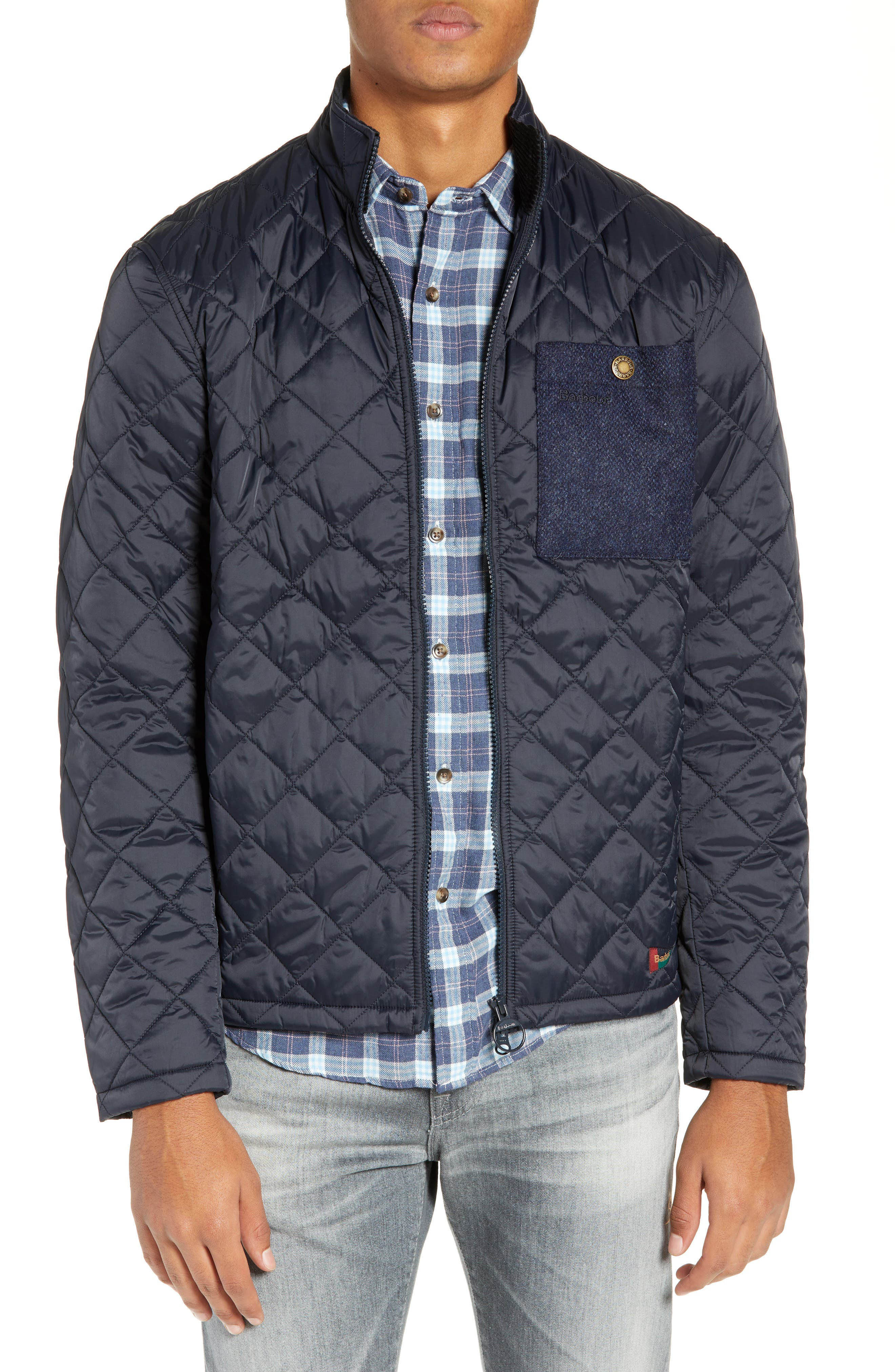 BARBOUR, Barbout Abaft Quilted Jacket, Main thumbnail 1, color, NAVY