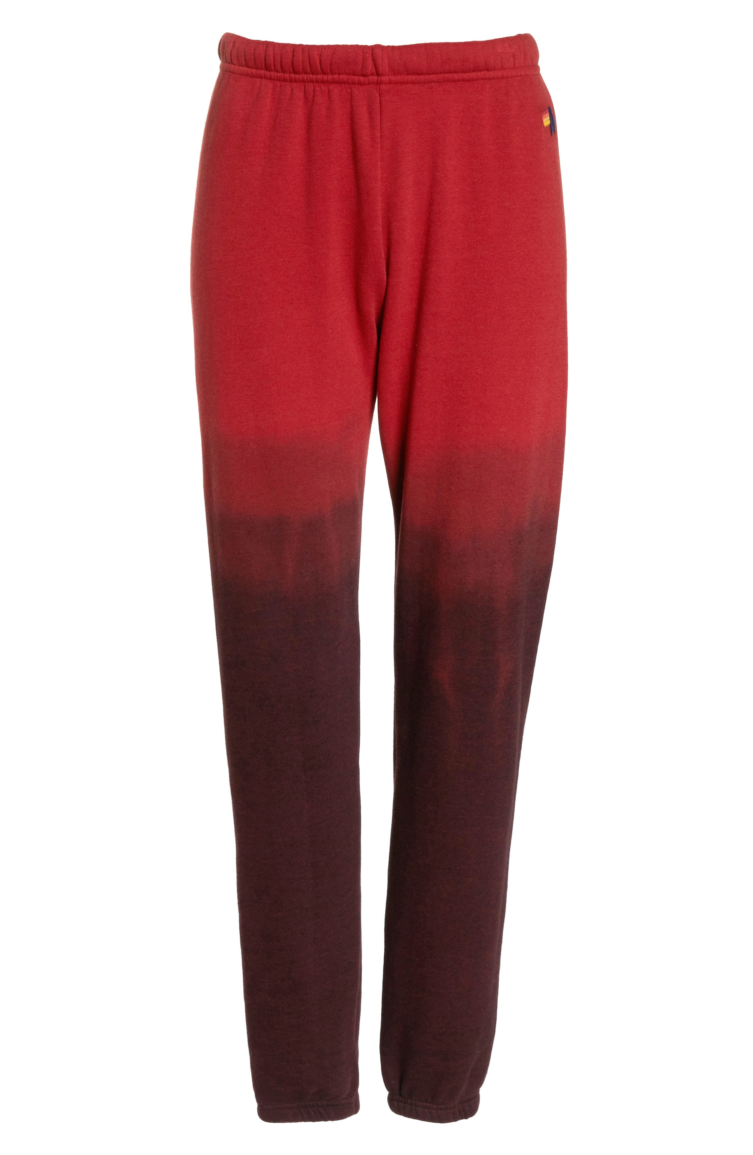AVIATOR NATION, Faded Sweatpants, Alternate thumbnail 7, color, RED / CHARCOAL