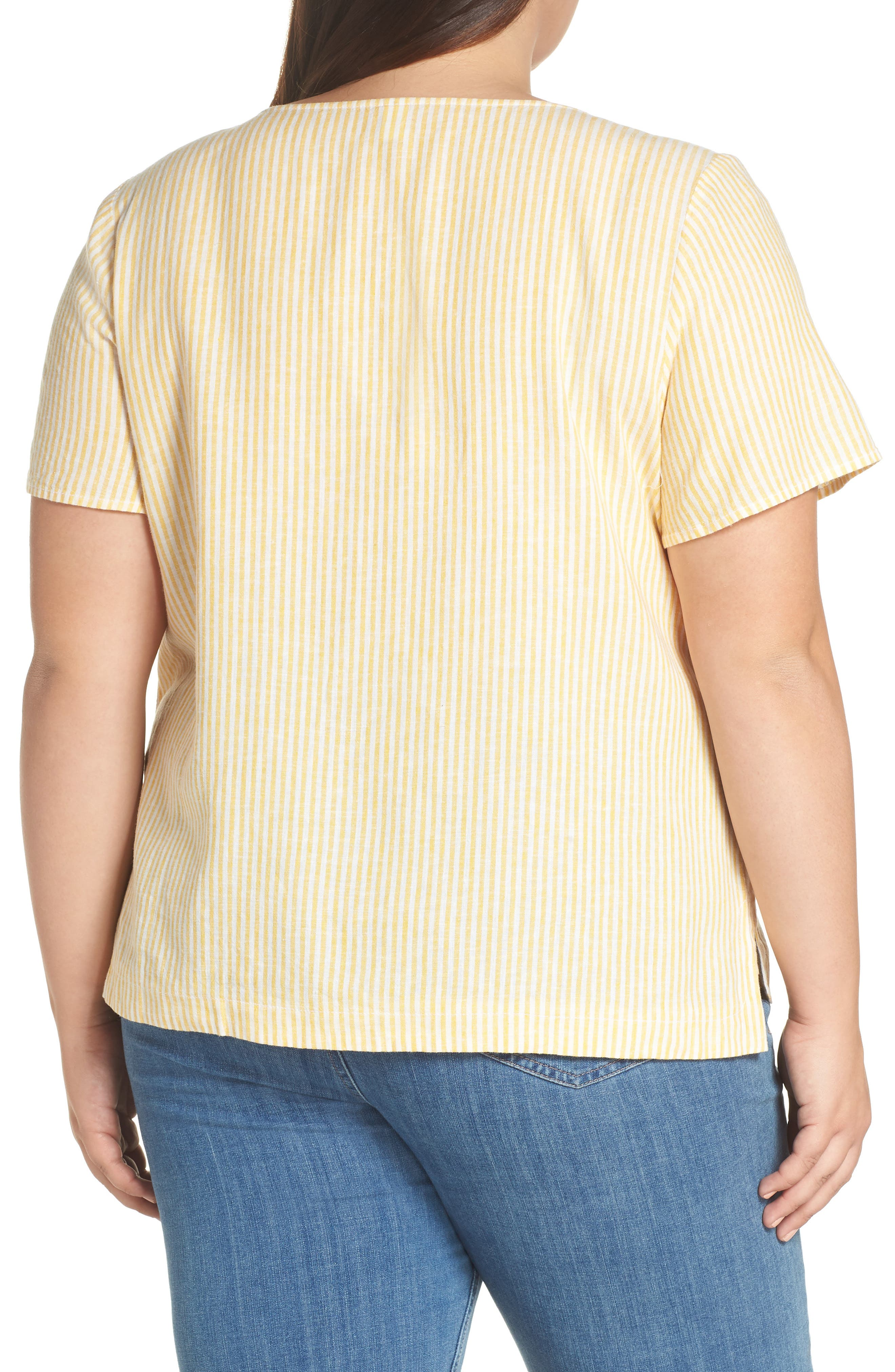 BP., Button Front Linen Blend Top, Alternate thumbnail 8, color, YELLOW WHIP MARA STRIPE