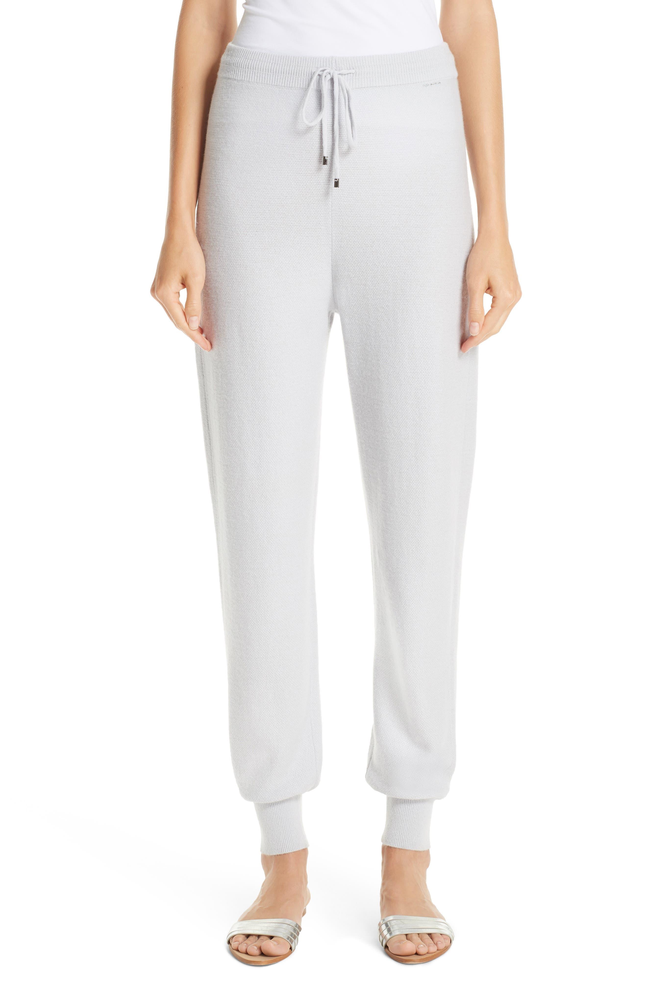 ST. JOHN COLLECTION Float Jacquard Knit Cashmere Pants, Main, color, EARL GREY