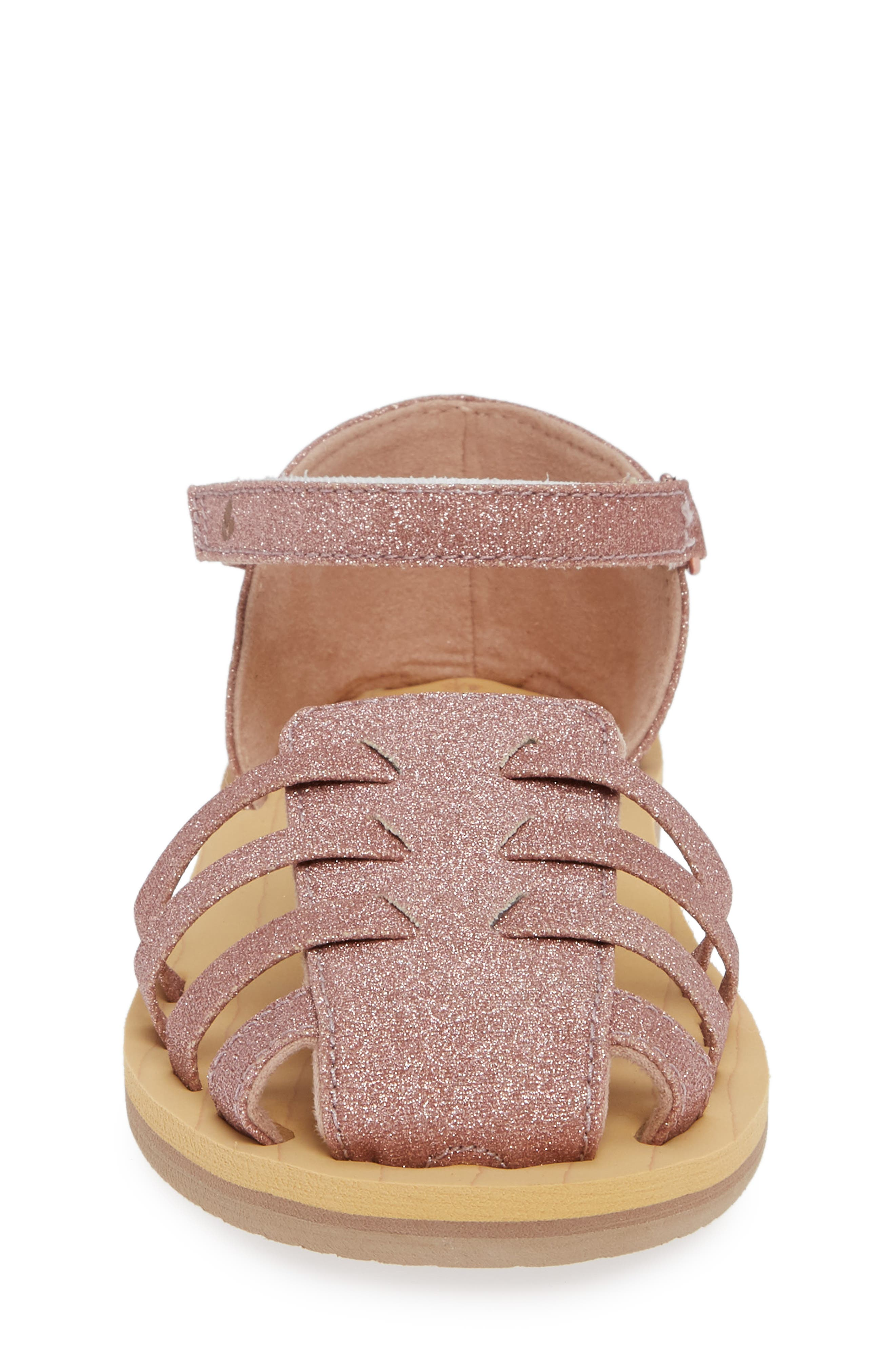 REEF, Little Reef Prep Glitter Fisherman Sandal, Alternate thumbnail 4, color, ROSE