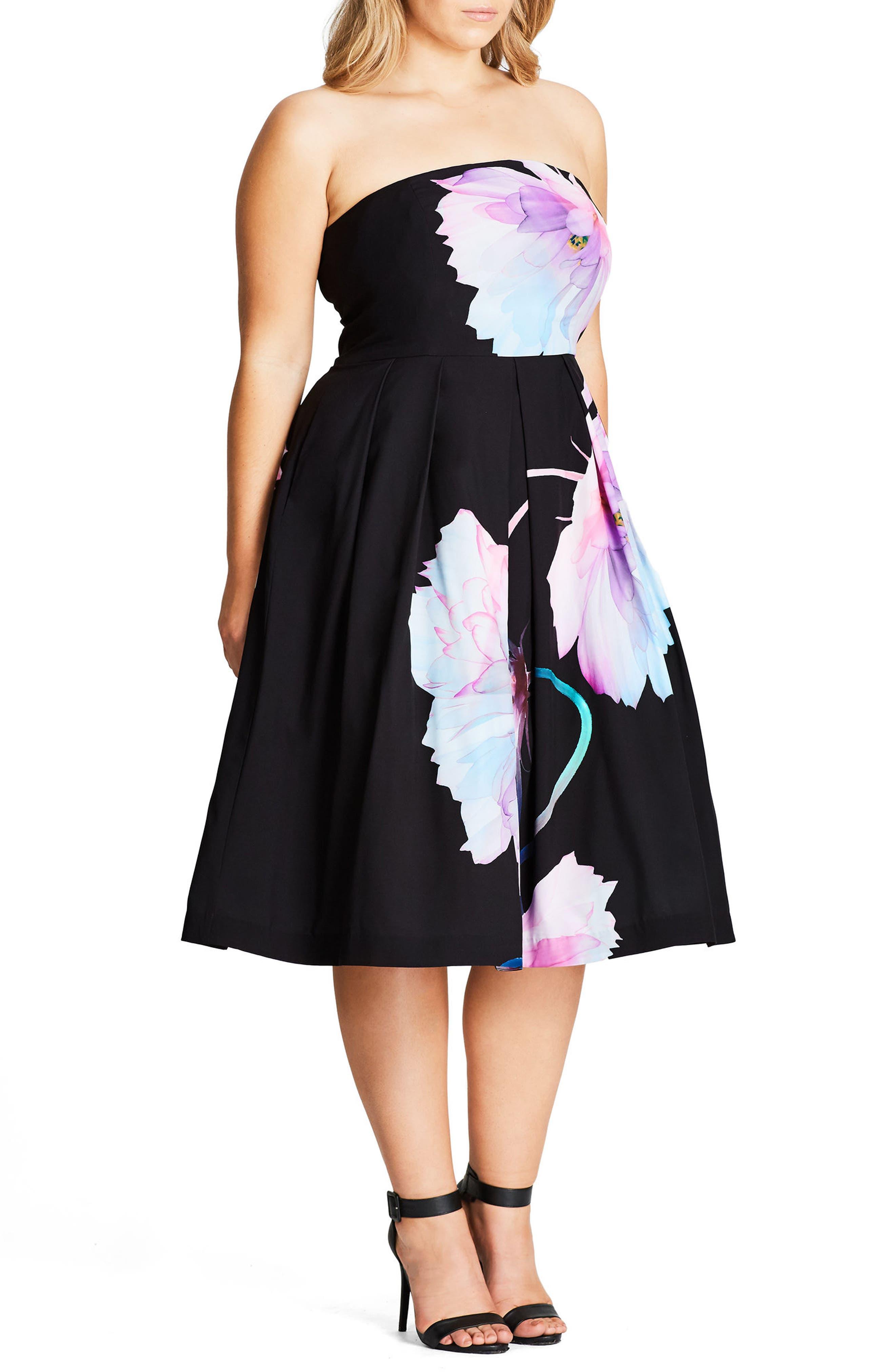 CITY CHIC, Pretty Bloom Convertible Sundress, Alternate thumbnail 3, color, BLACK