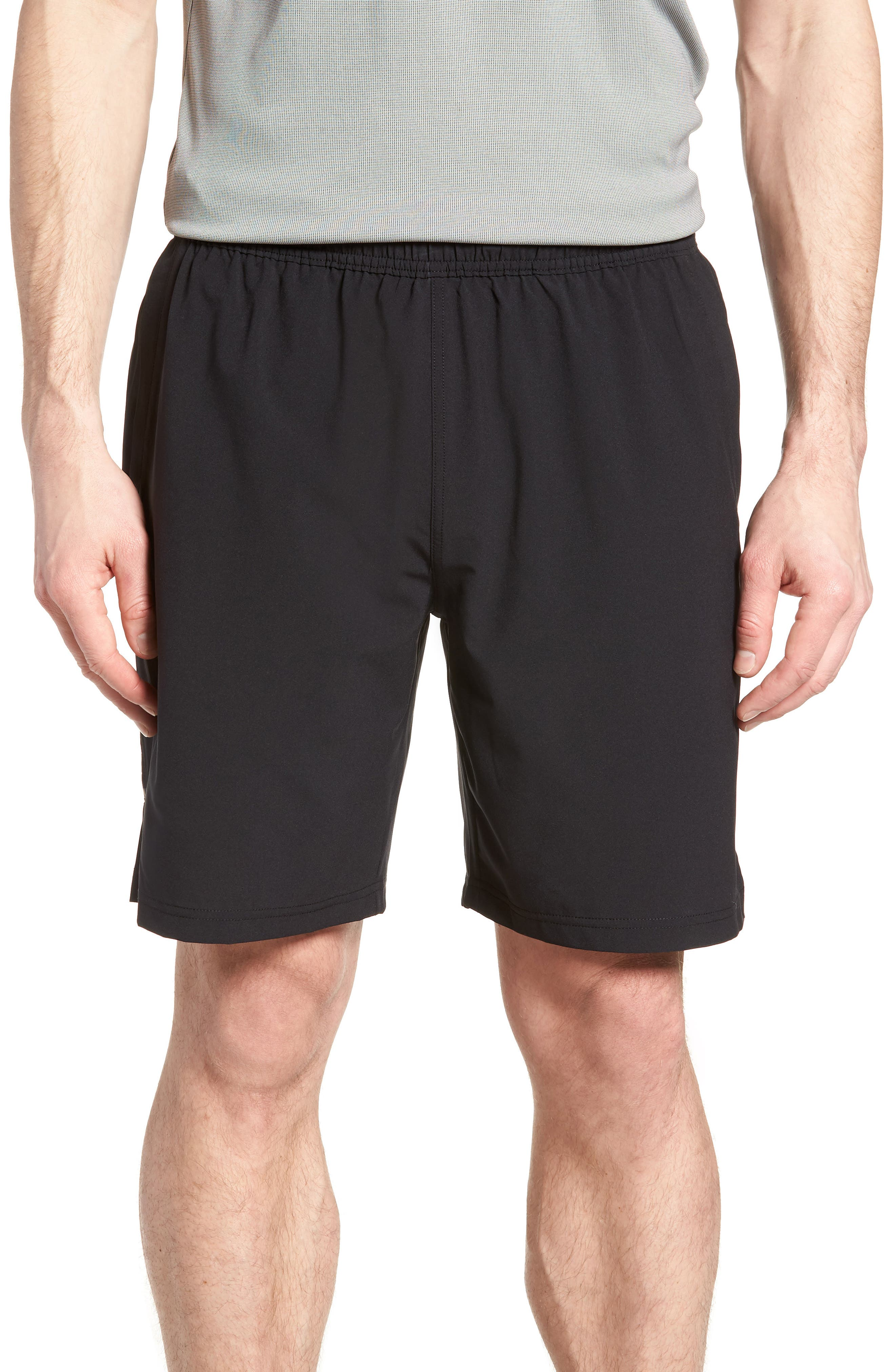ZELLA Graphite Perforated Shorts, Main, color, BLACK