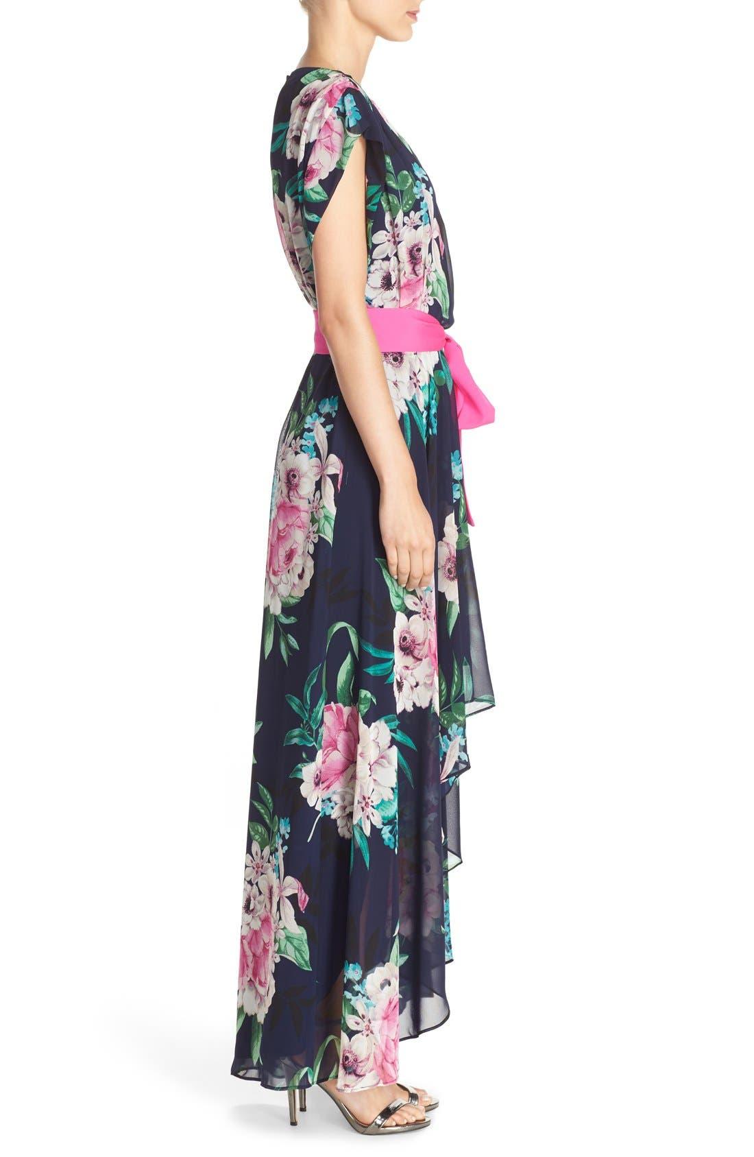 ELIZA J, Floral Print Chiffon High/Low Dress, Alternate thumbnail 4, color, 470