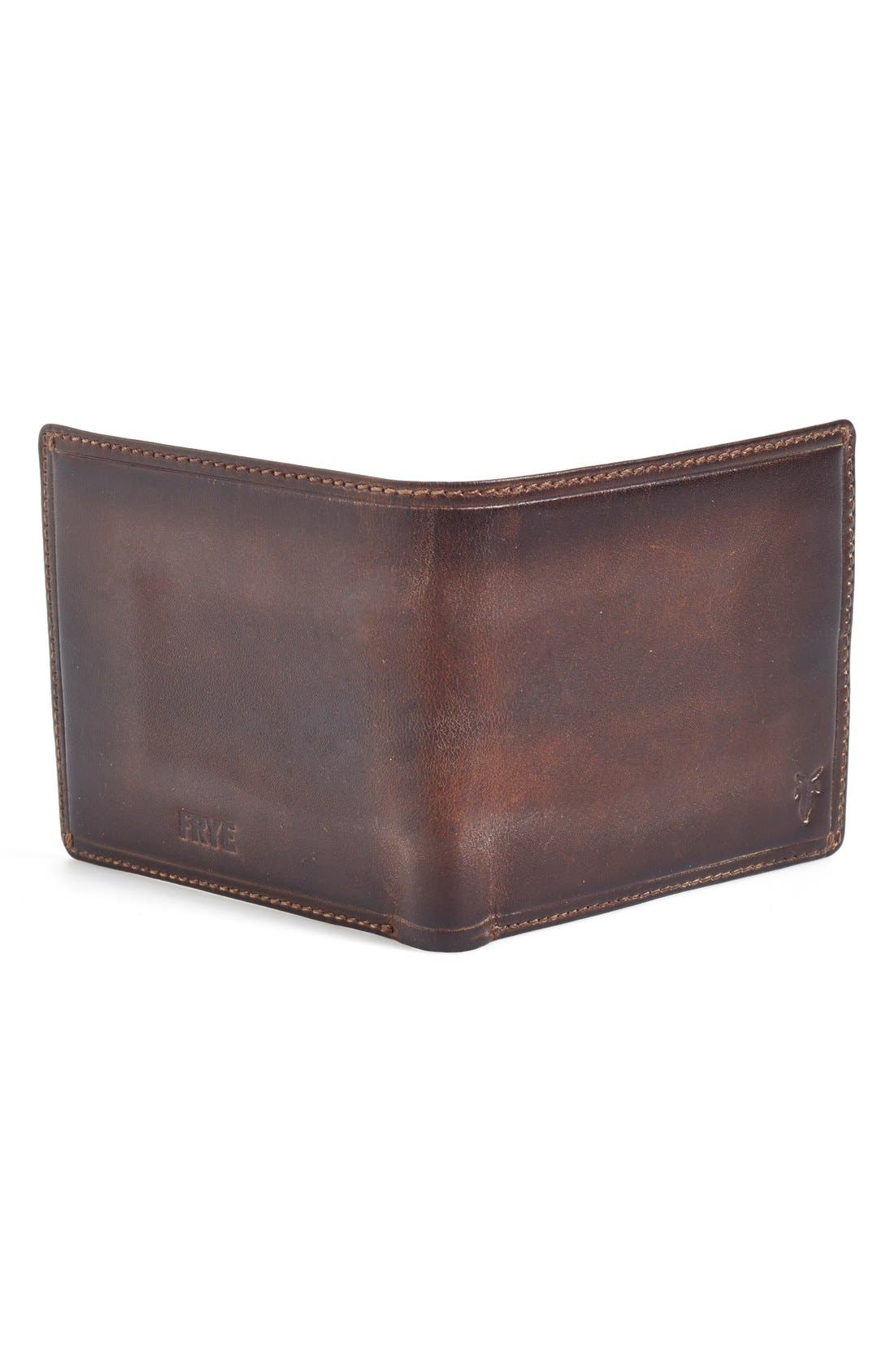 FRYE, 'Logan' Leather Billfold Wallet, Alternate thumbnail 2, color, SLATE