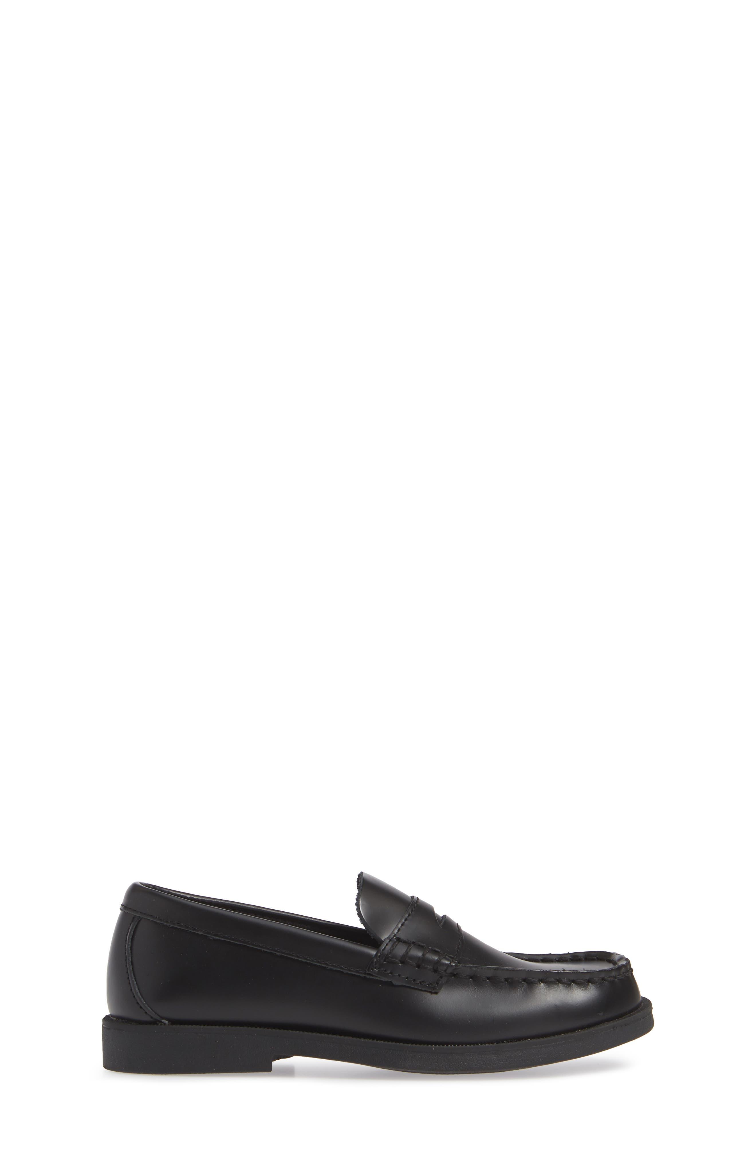 SPERRY KIDS, 'Colton' Loafer, Alternate thumbnail 4, color, BLACK LEATHER