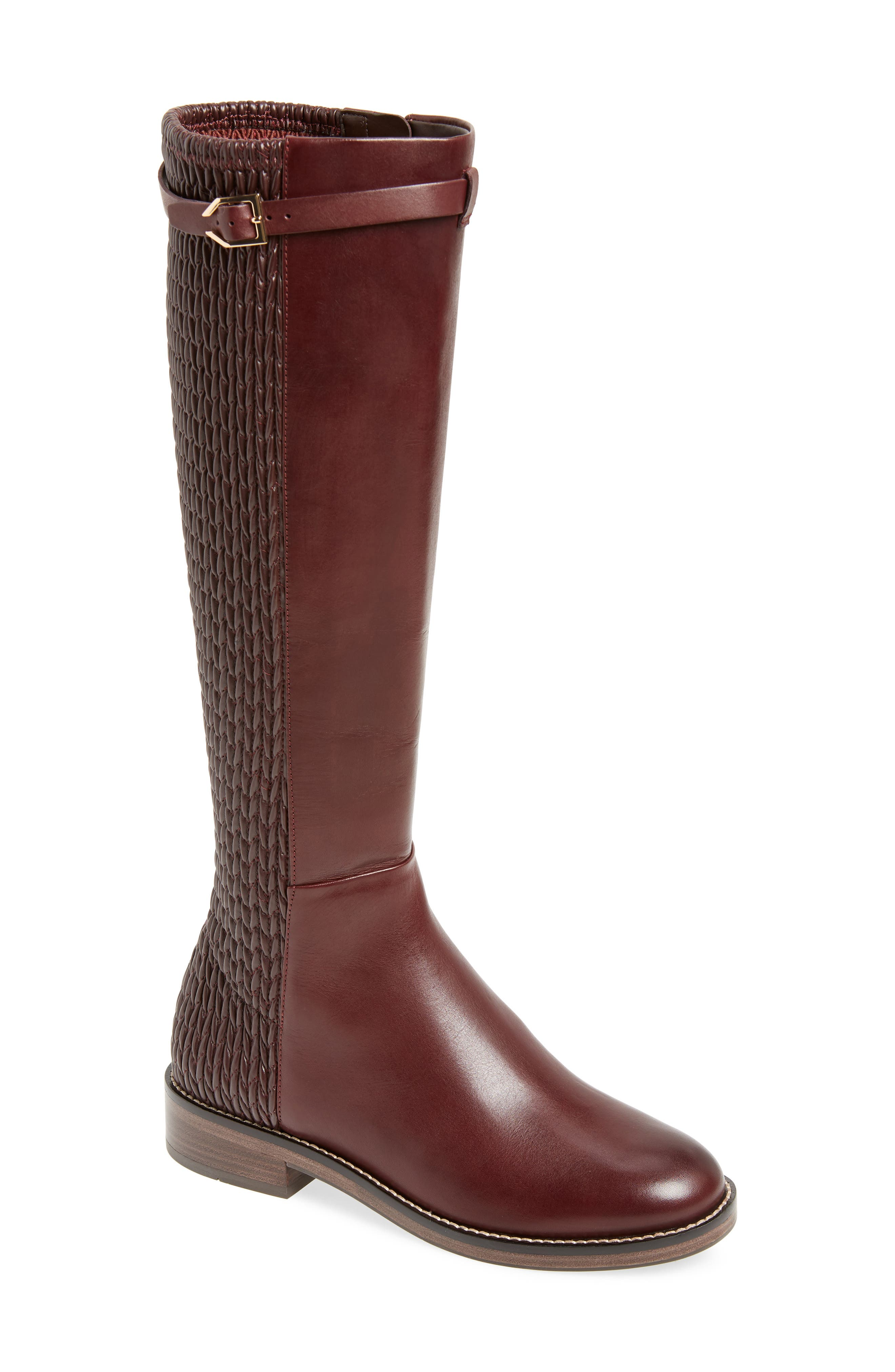 COLE HAAN, Lexi Grand Knee High Stretch Boot, Main thumbnail 1, color, CORDOVAN LEATHER