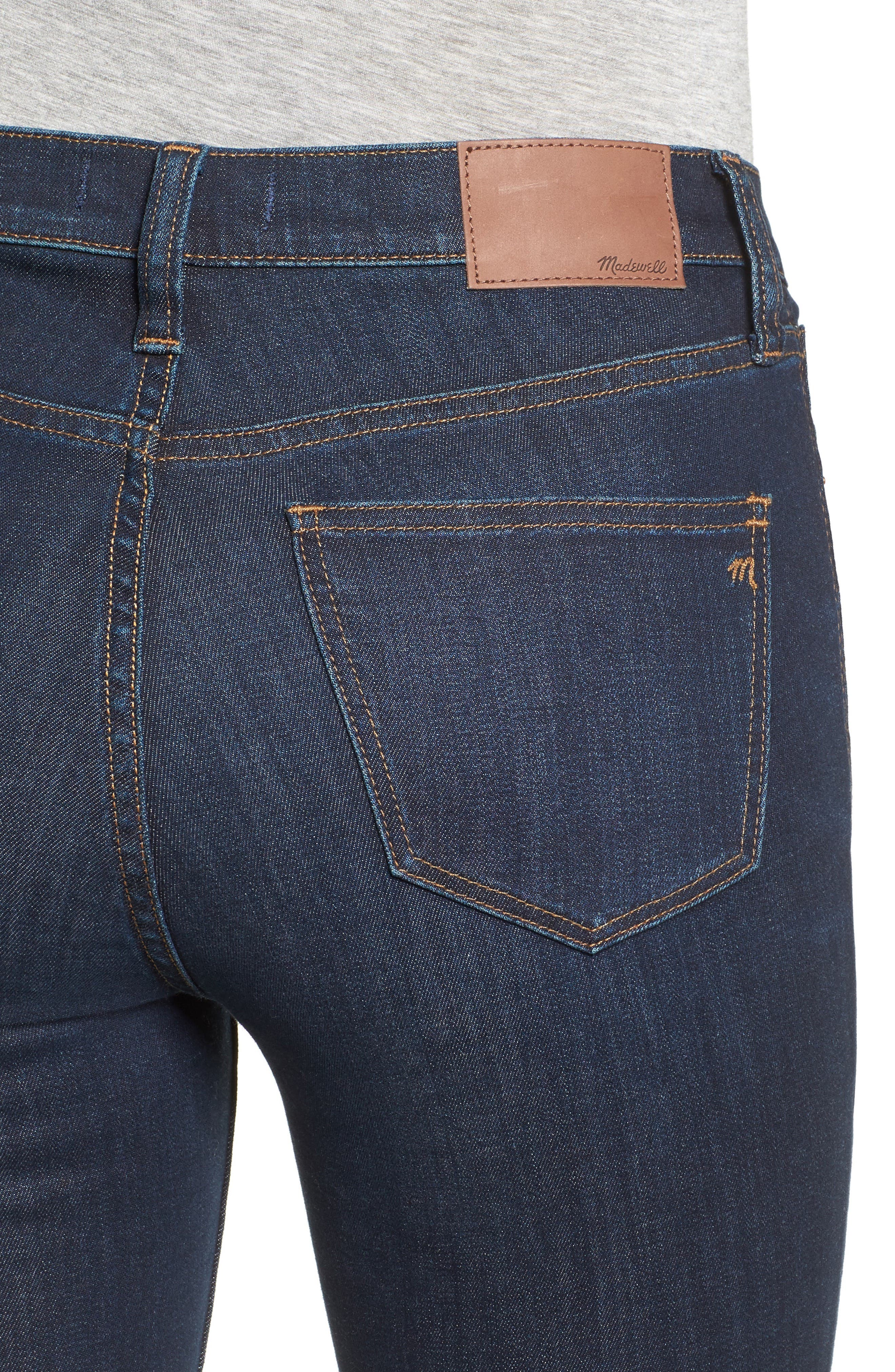 MADEWELL, 9-Inch High Rise Skinny Jeans, Alternate thumbnail 6, color, LARKSPUR