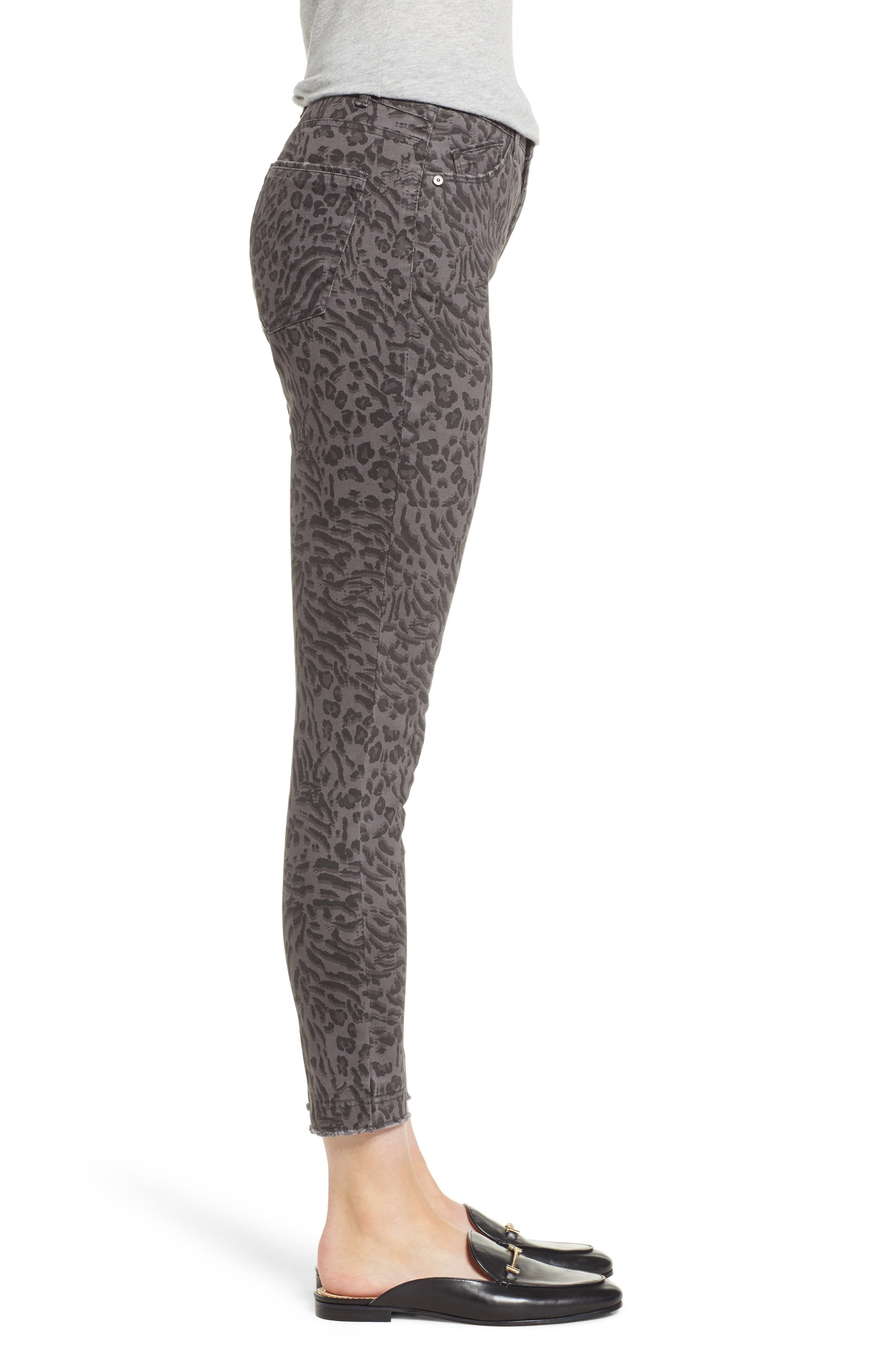 WIT & WISDOM, Ab-Solution Leopard Print High Waist Skinny Jeans, Alternate thumbnail 4, color, CHARCOAL