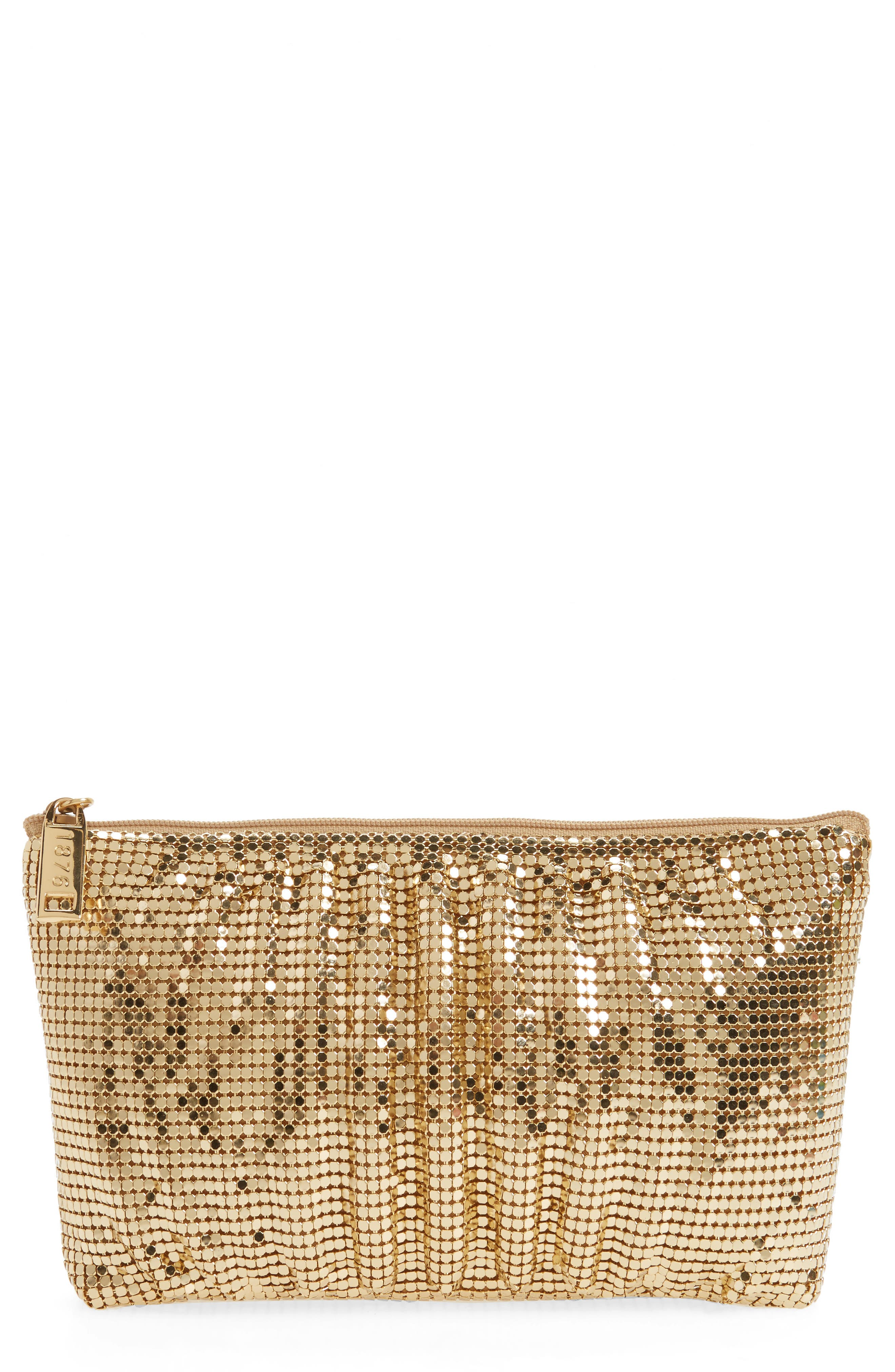 WHITING & DAVIS, Shirred Mesh Pouch Clutch, Main thumbnail 1, color, GOLD