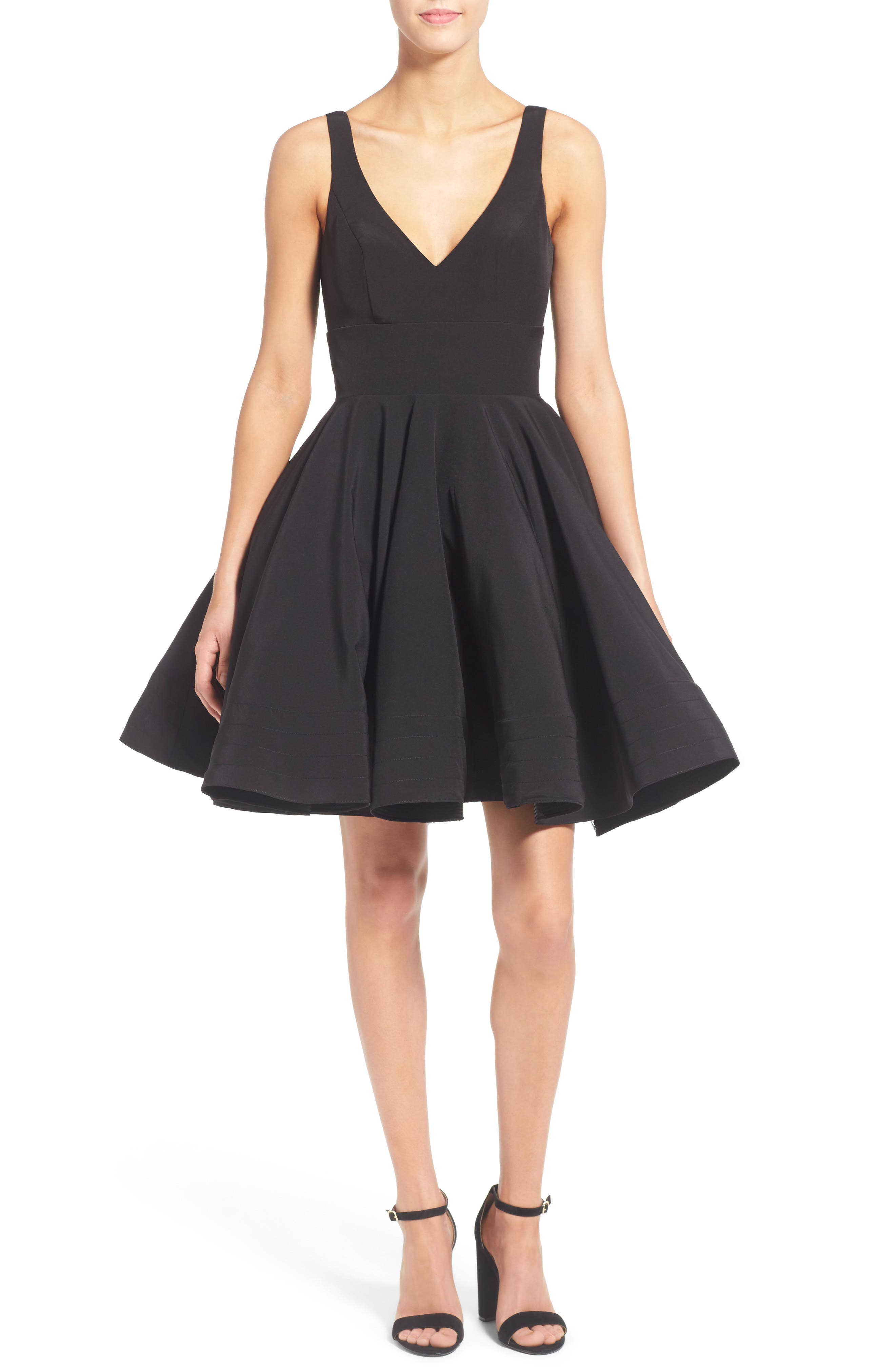 IEENA FOR MAC DUGGAL, Double V-Neck Fit & Flare Party Dress, Alternate thumbnail 2, color, BLACK