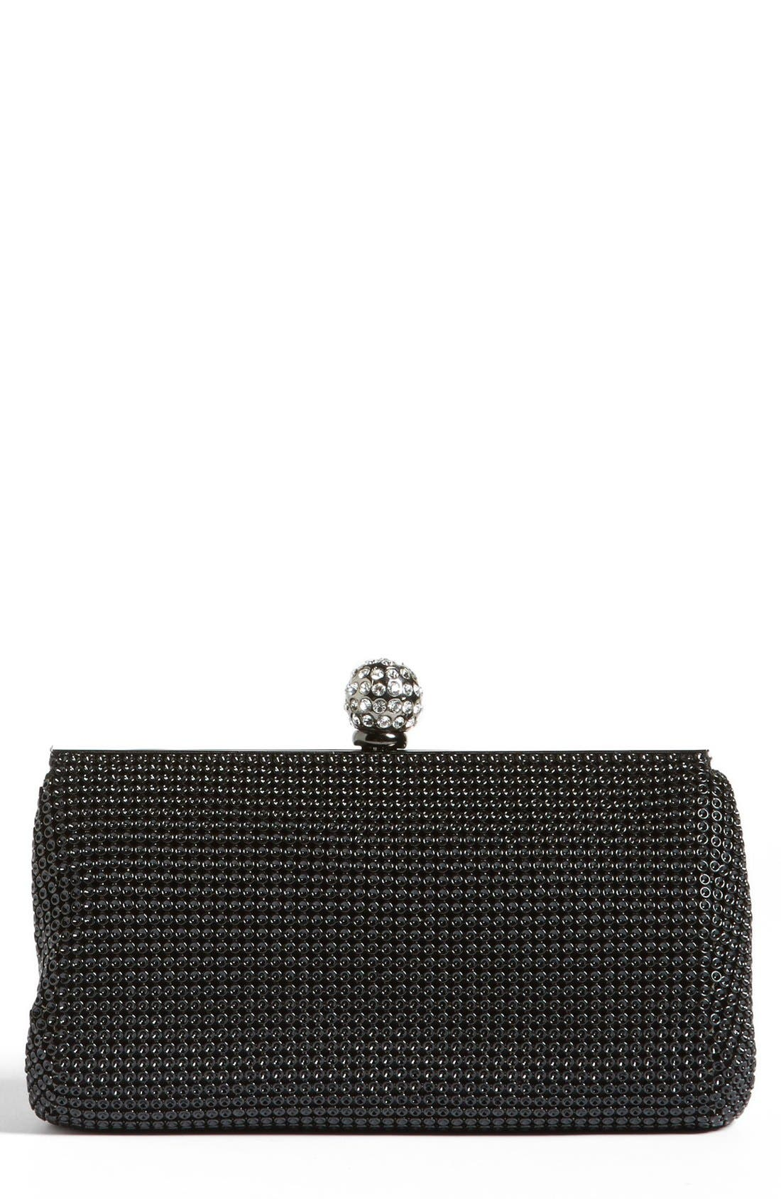 WHITING & DAVIS 'Crystal' Mesh Clutch, Main, color, BLACK