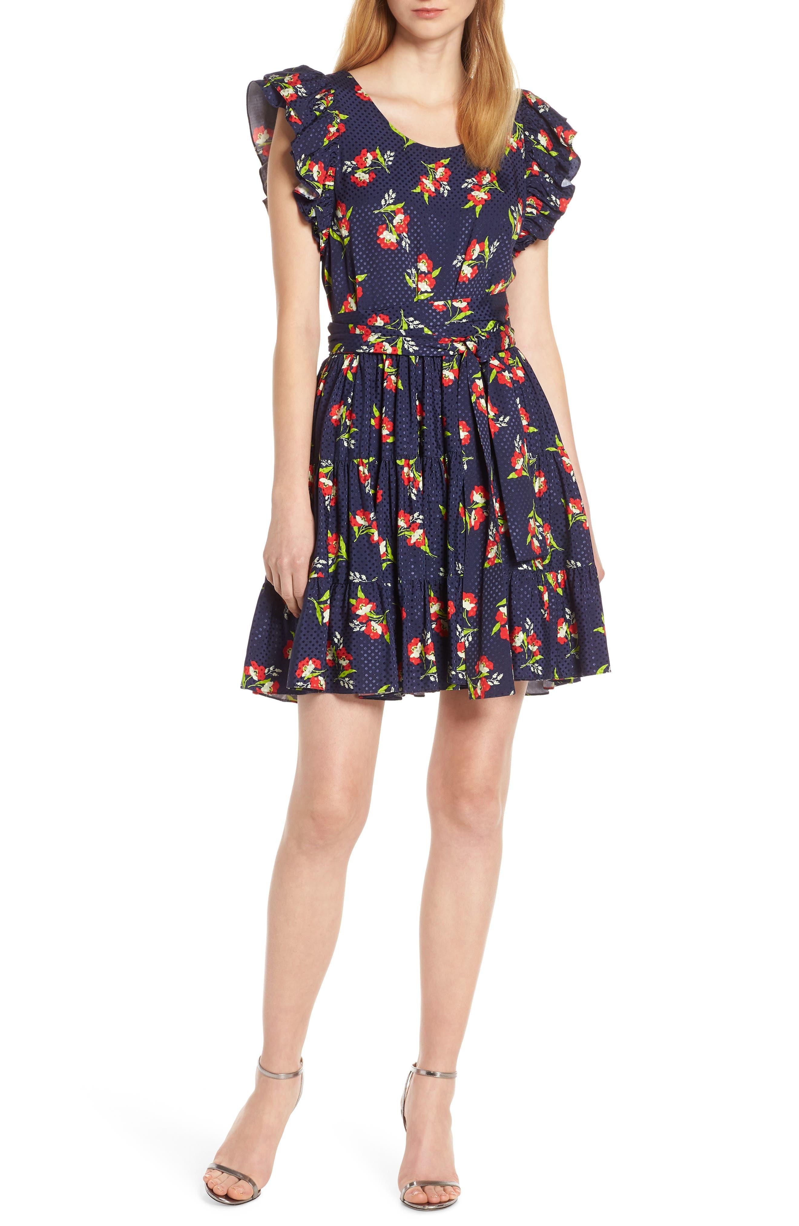 Jill Jill Stuart Floral Fit & Flare Dress, Blue