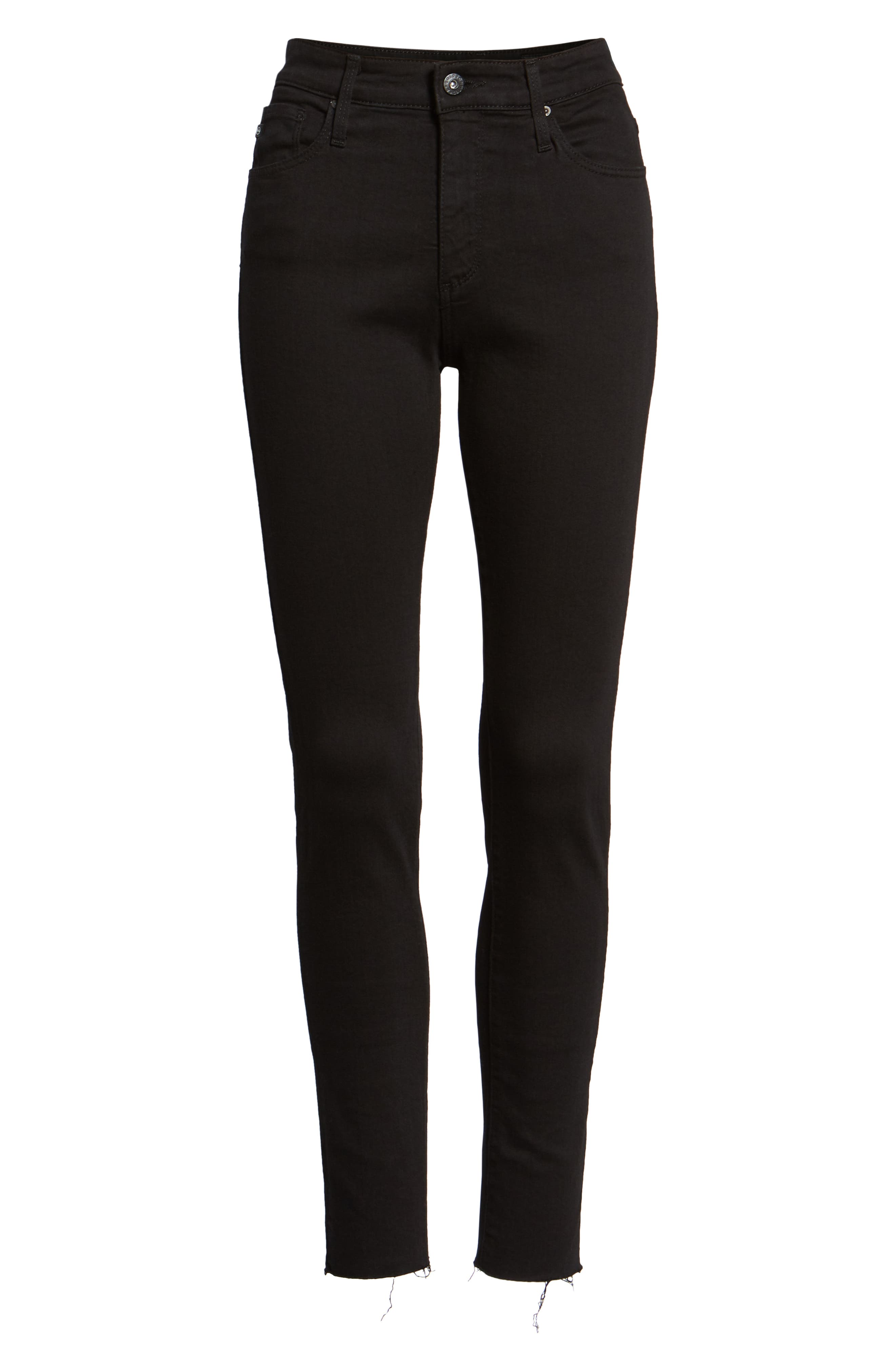 AG, The Farrah High Waist Raw Hem Ankle Skinny Jeans, Alternate thumbnail 7, color, BLACK INK