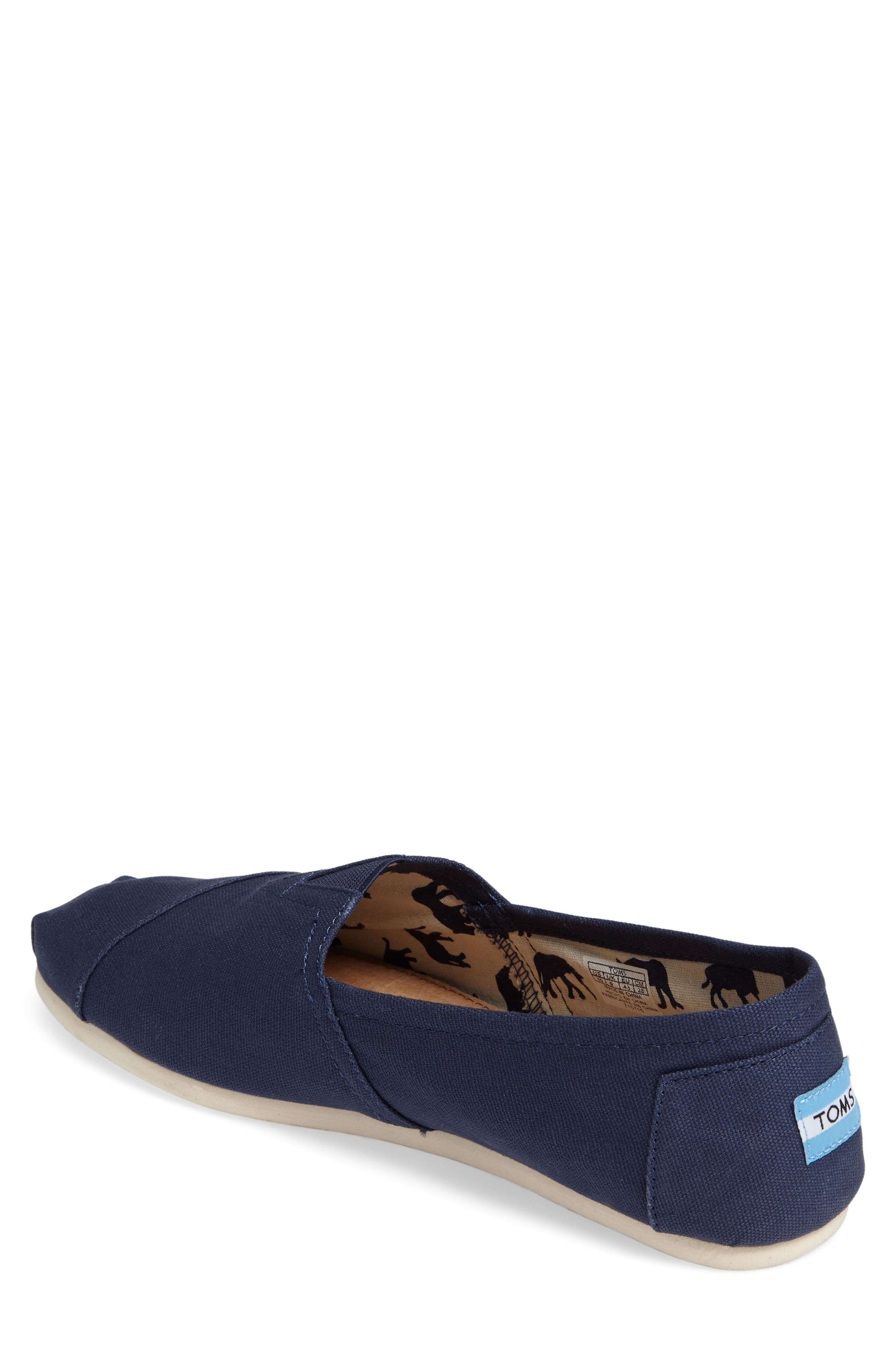 TOMS, 'Classic' Canvas Slip-On, Alternate thumbnail 2, color, NAVY