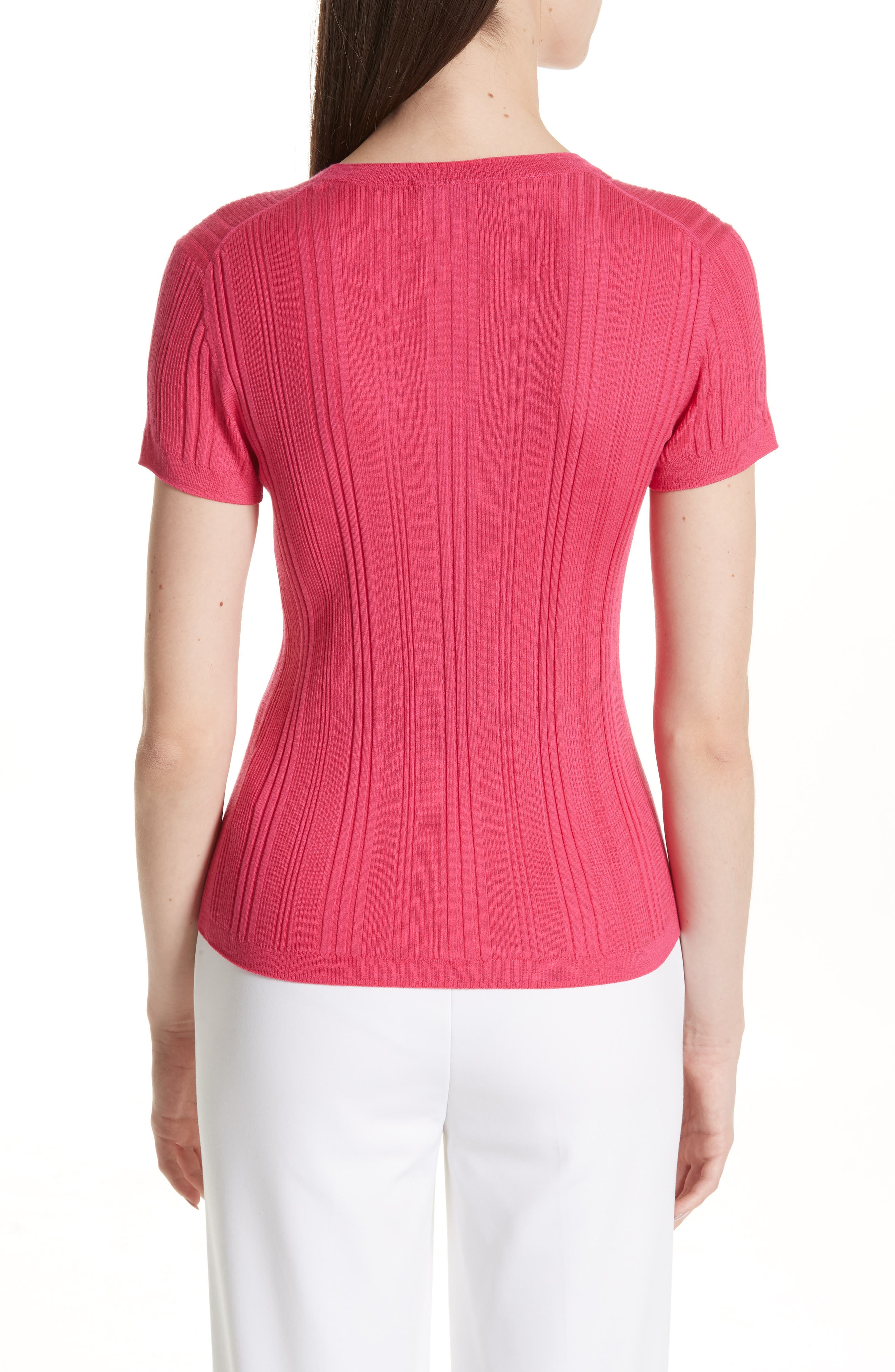 ST. JOHN COLLECTION, Superfine Variegated Rib Sweater, Alternate thumbnail 2, color, FLAMINGO