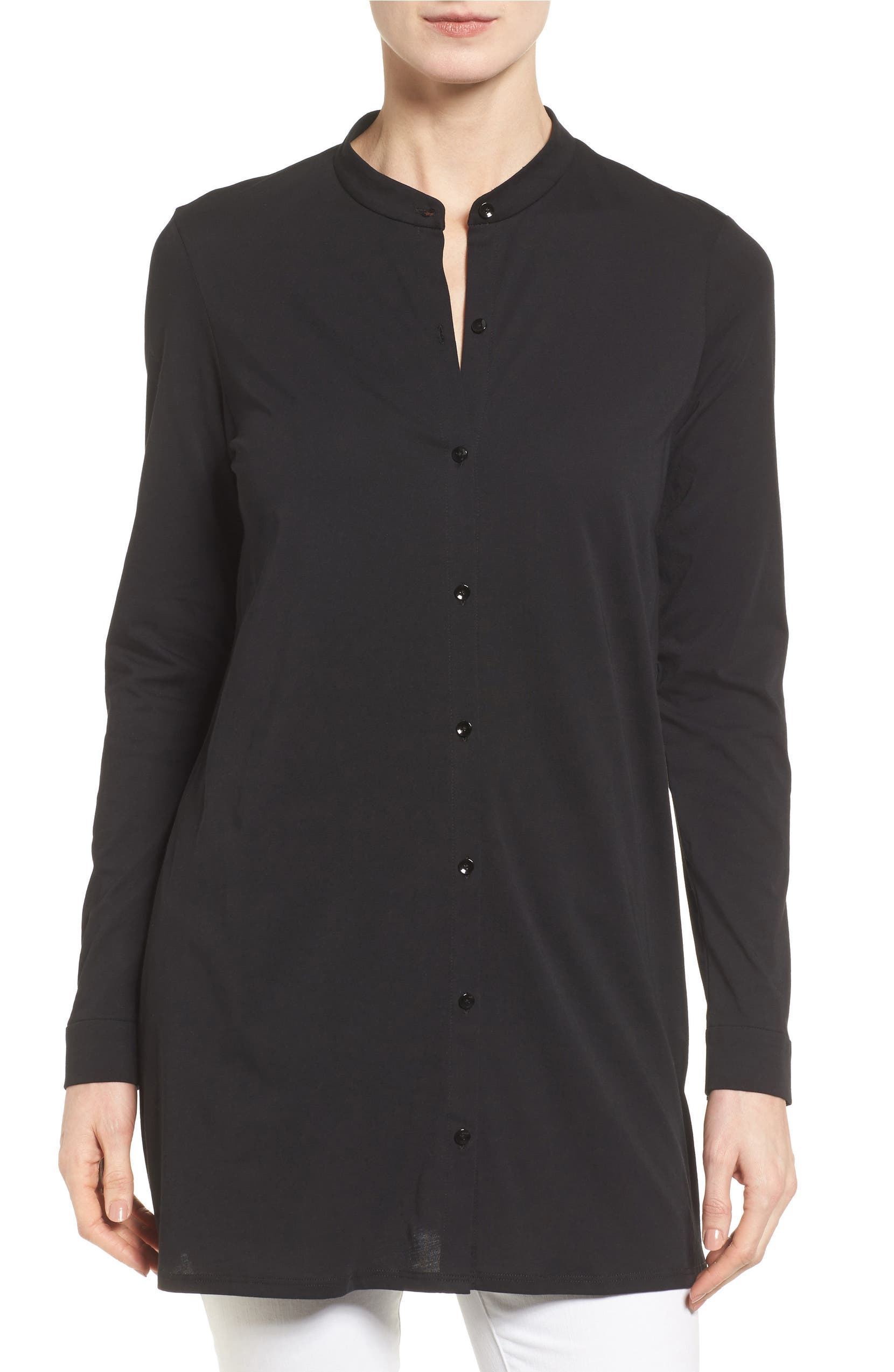 b449270f9ff Eileen Fisher Organic Cotton Jersey Mandarin Collar Tunic (Regular &  Petite) | Nordstrom