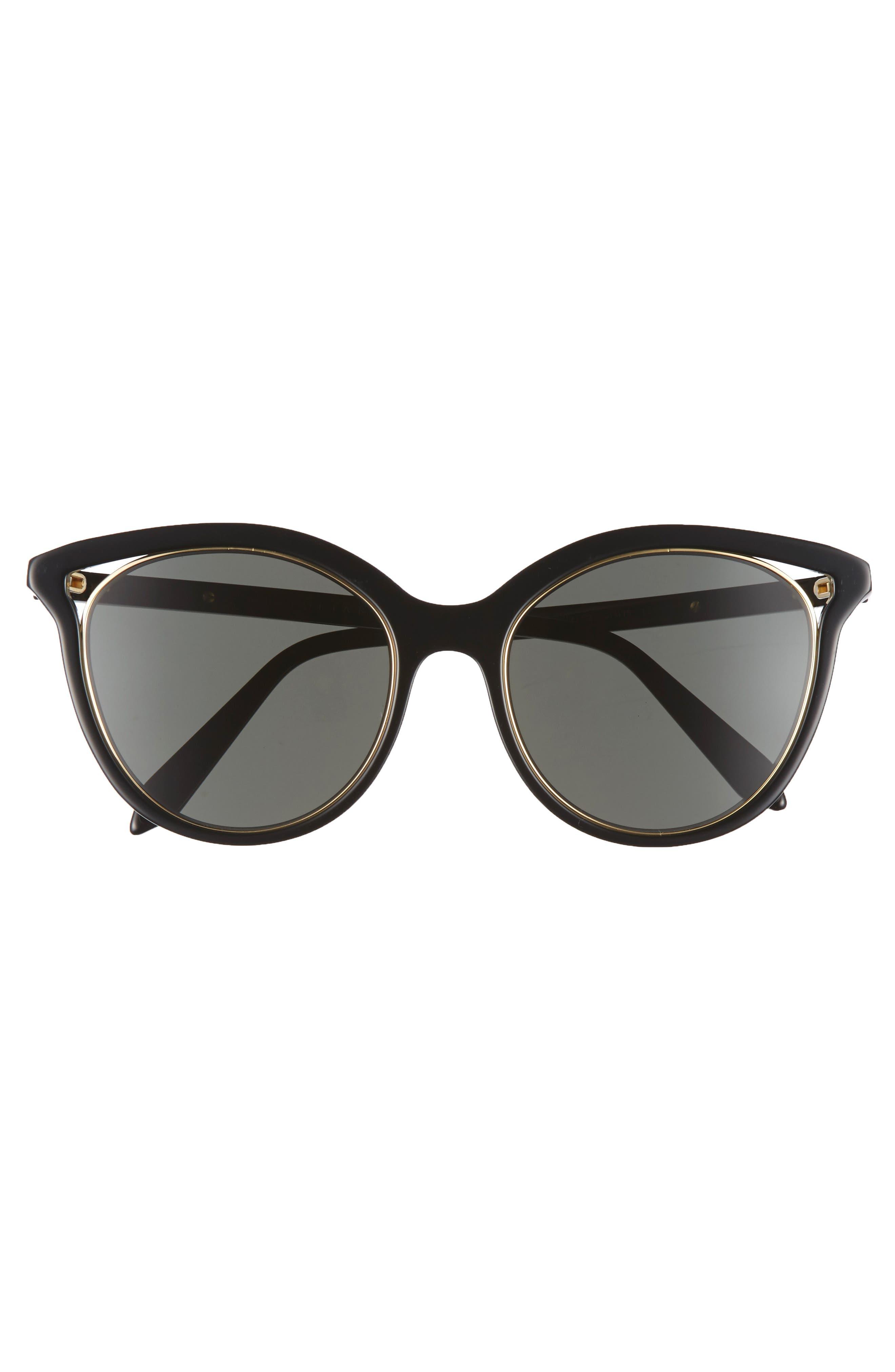 VICTORIA BECKHAM, Cutaway Kitten 54mm Cat Eye Sunglasses, Alternate thumbnail 3, color, BLACK/ GOLD
