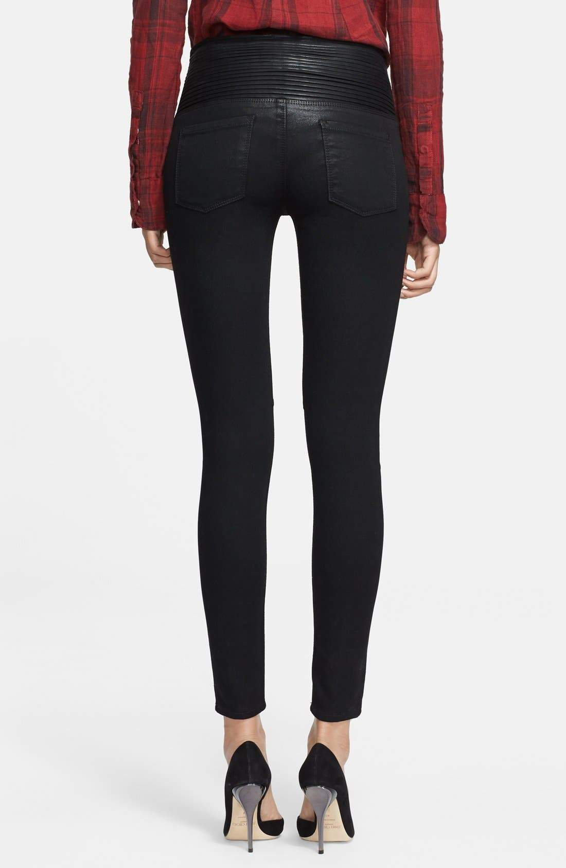 RTA, Pleat Detail High Waist Skinny Jeans, Alternate thumbnail 2, color, 004