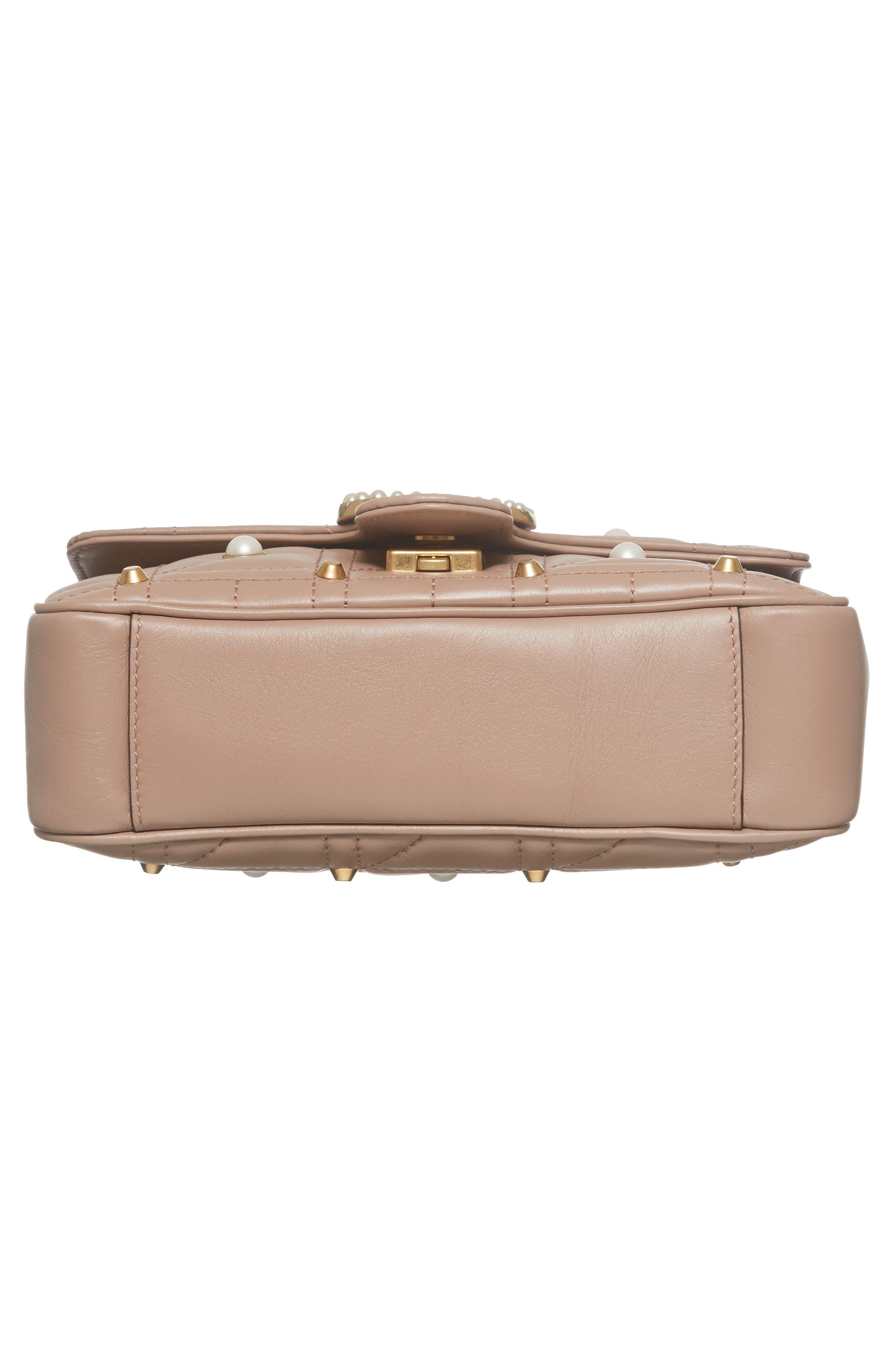 GUCCI, Mini GG Marmont 2.0 Imitation Pearl Logo Matelassé Leather Shoulder Bag, Alternate thumbnail 6, color, 651