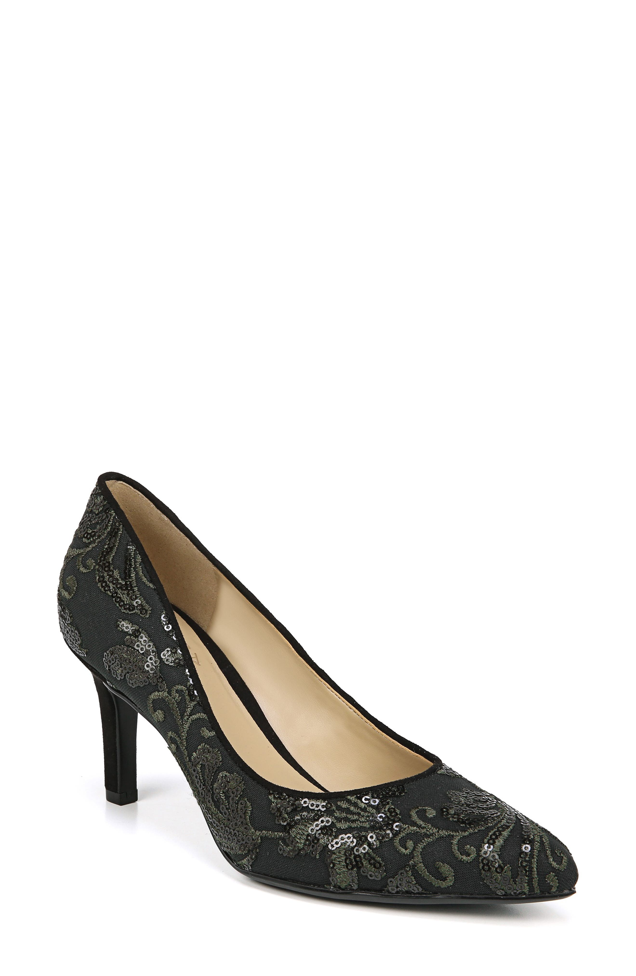 NATURALIZER, Natalie Pointy Toe Pump, Main thumbnail 1, color, FERN GREEN EMBROIDERED