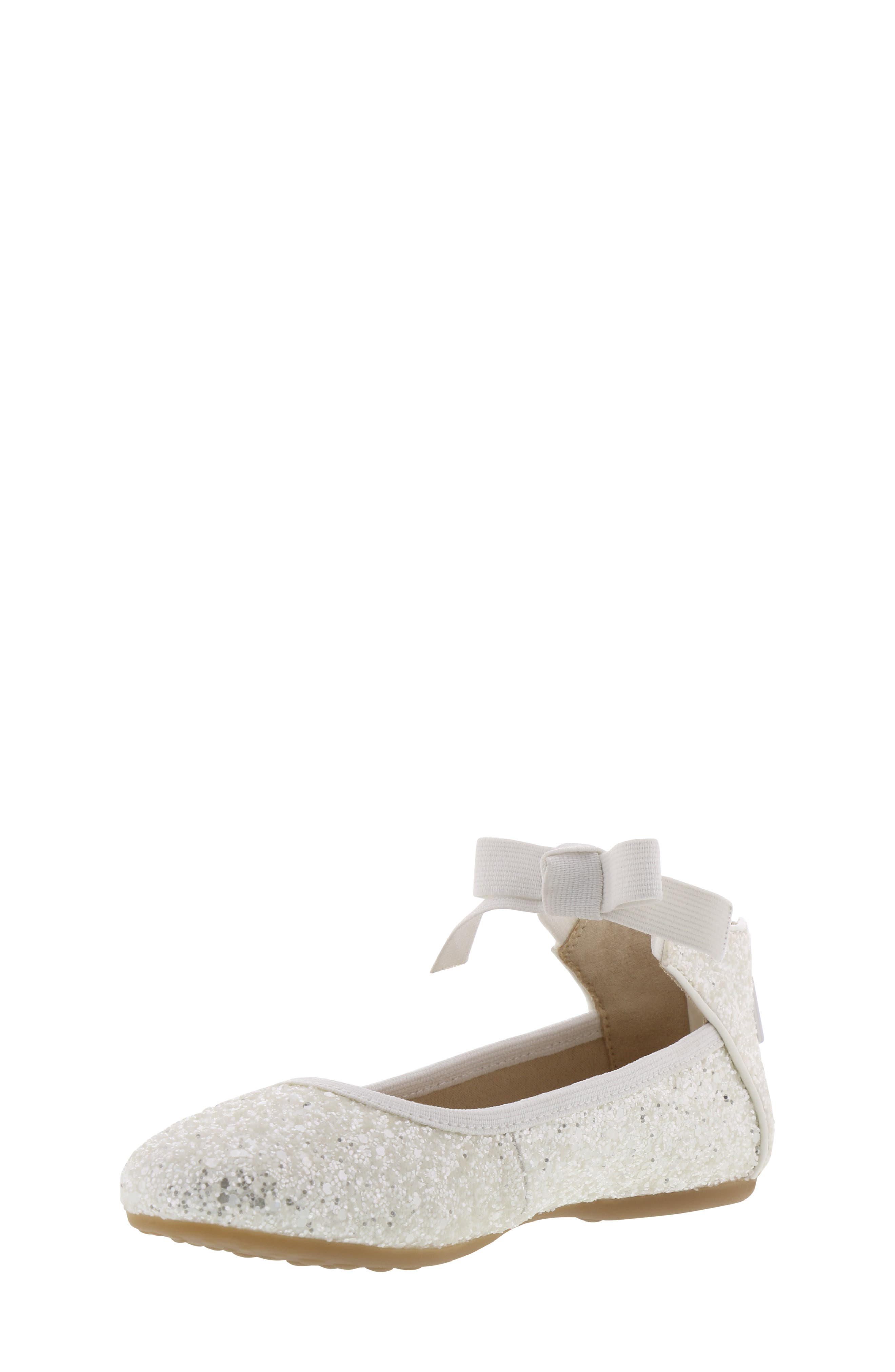 KENNETH COLE NEW YORK, Rose Bow Ballet Flat, Alternate thumbnail 9, color, WHITE SUGAR GLITTER