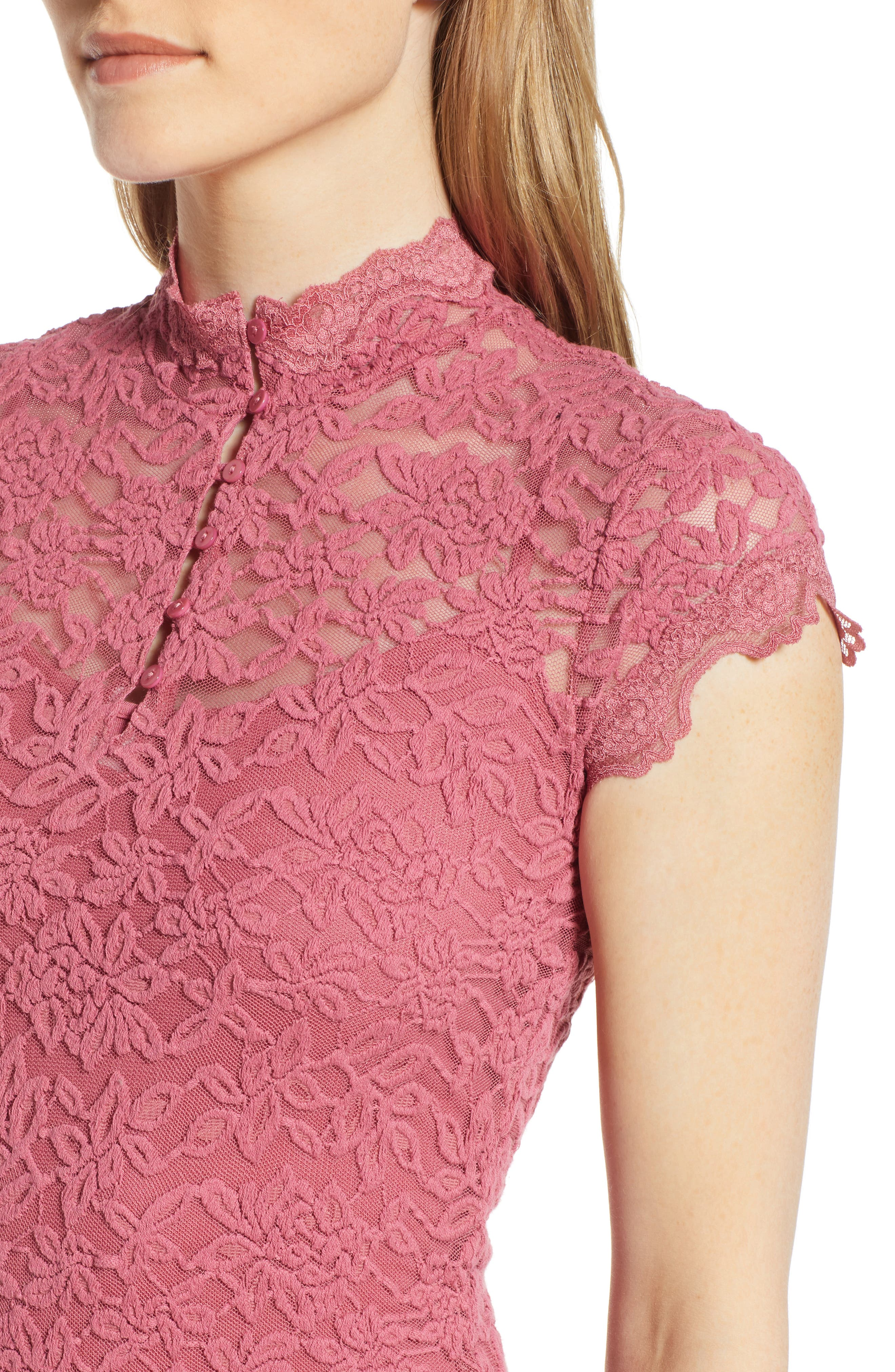 ROSEMUNDE, Delicia Lace Body-Con Dress, Alternate thumbnail 5, color, ROSEWINE 356