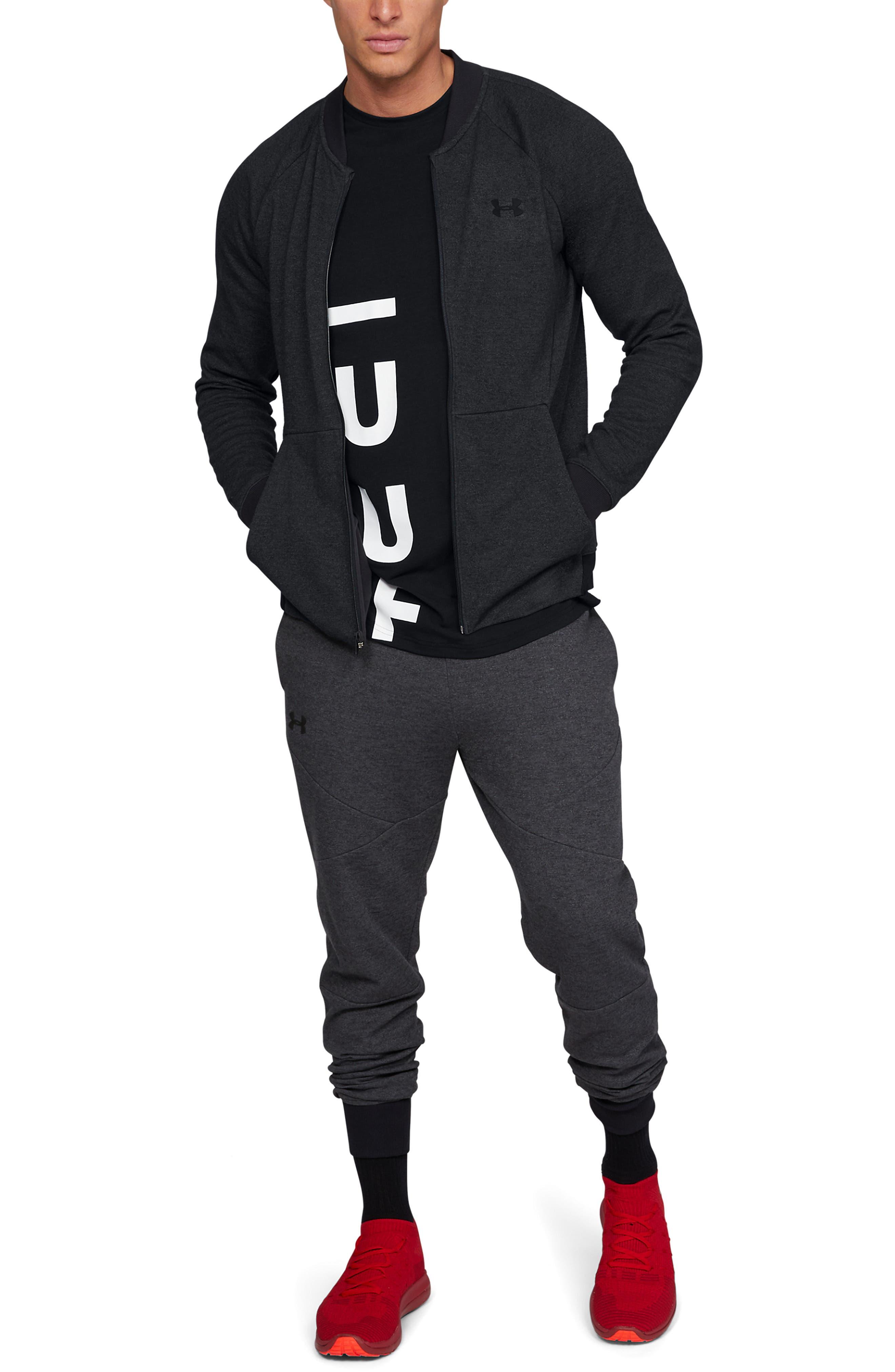 UNDER ARMOUR, Unstoppable Double Knit Bomber Jacket, Alternate thumbnail 6, color, BLACK/ BLACK/ BLACK