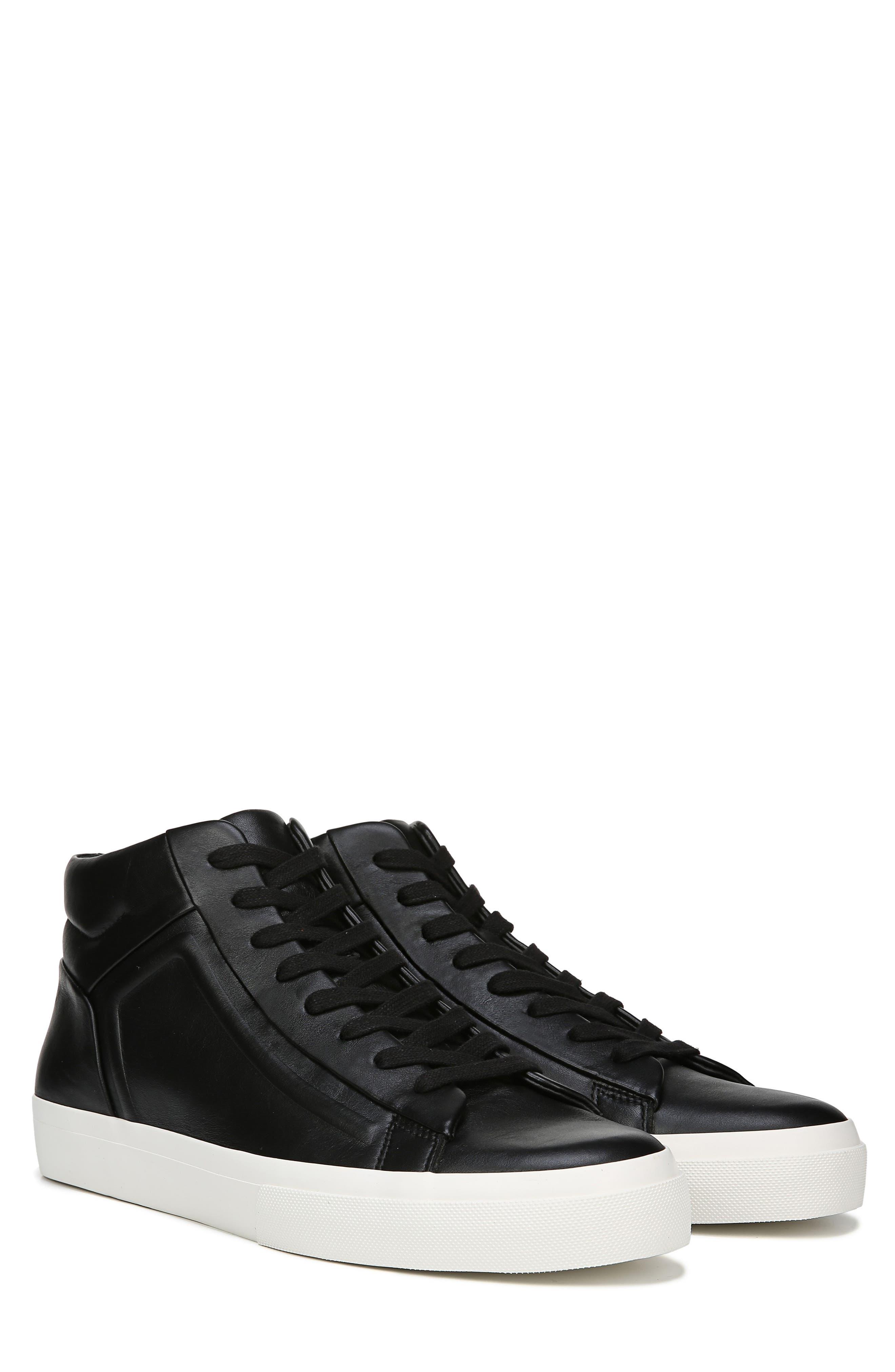 VINCE, Fynn High Top Sneaker, Alternate thumbnail 8, color, BLACK