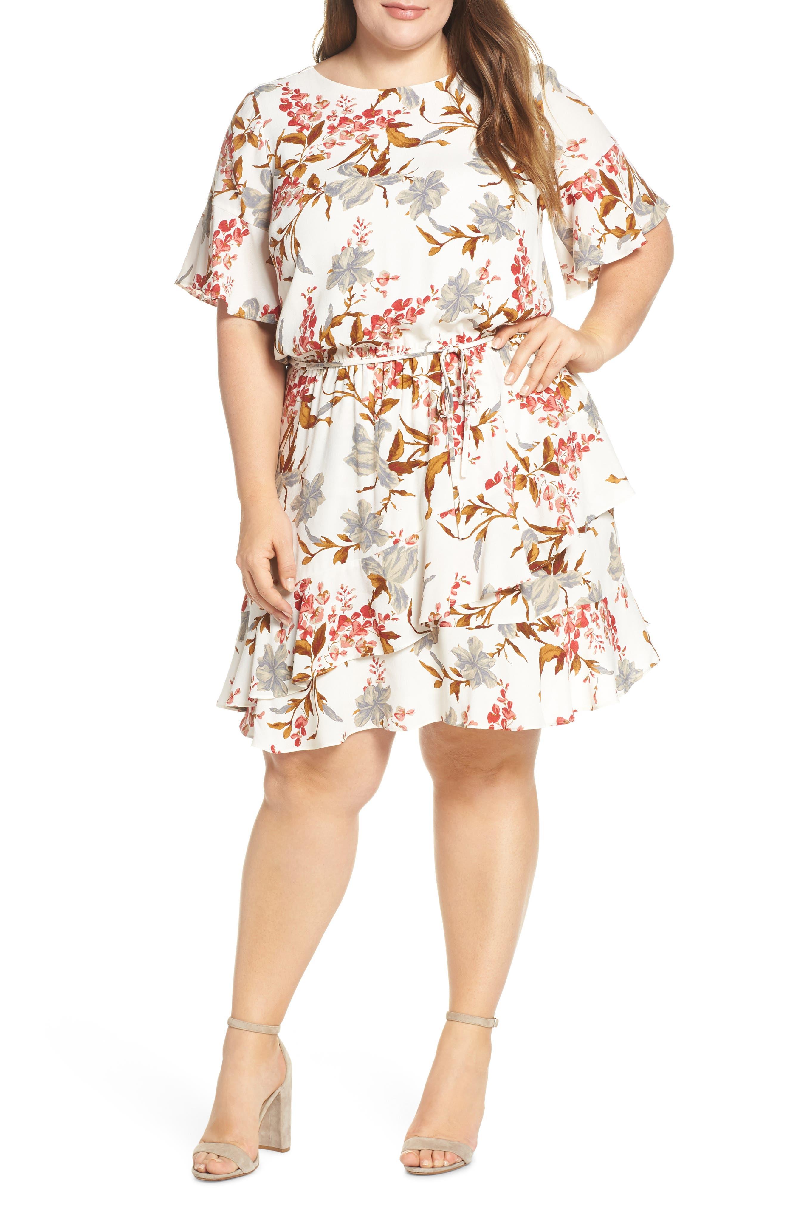 Plus Size Vince Camuto Ruffle Wildflower Print Dress, Ivory