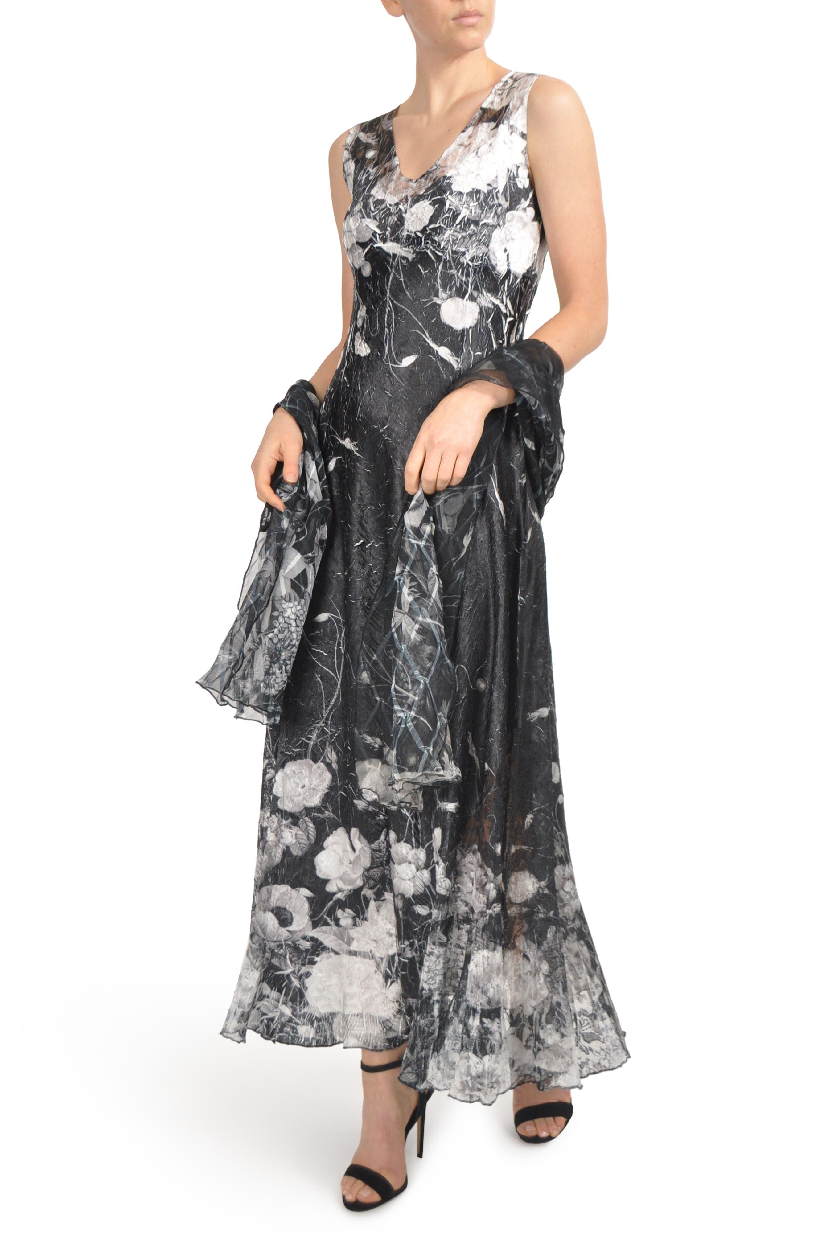 KOMAROV, Lace-Up Back Maxi Dress with Wrap, Main thumbnail 1, color, 001