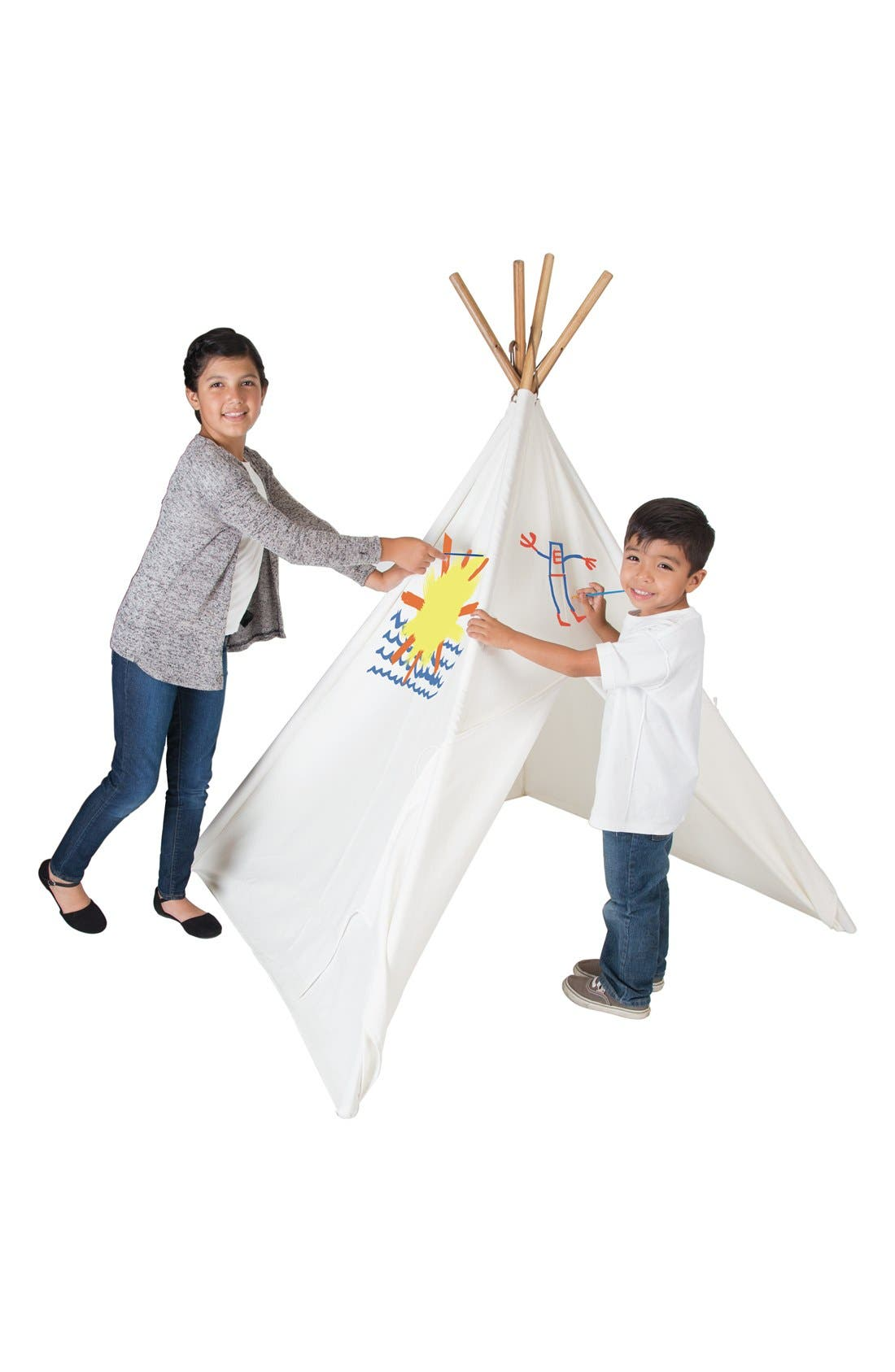 PACIFIC PLAY TENTS, Cotton Canvas Teepee with Paint Set, Alternate thumbnail 2, color, BEIGE