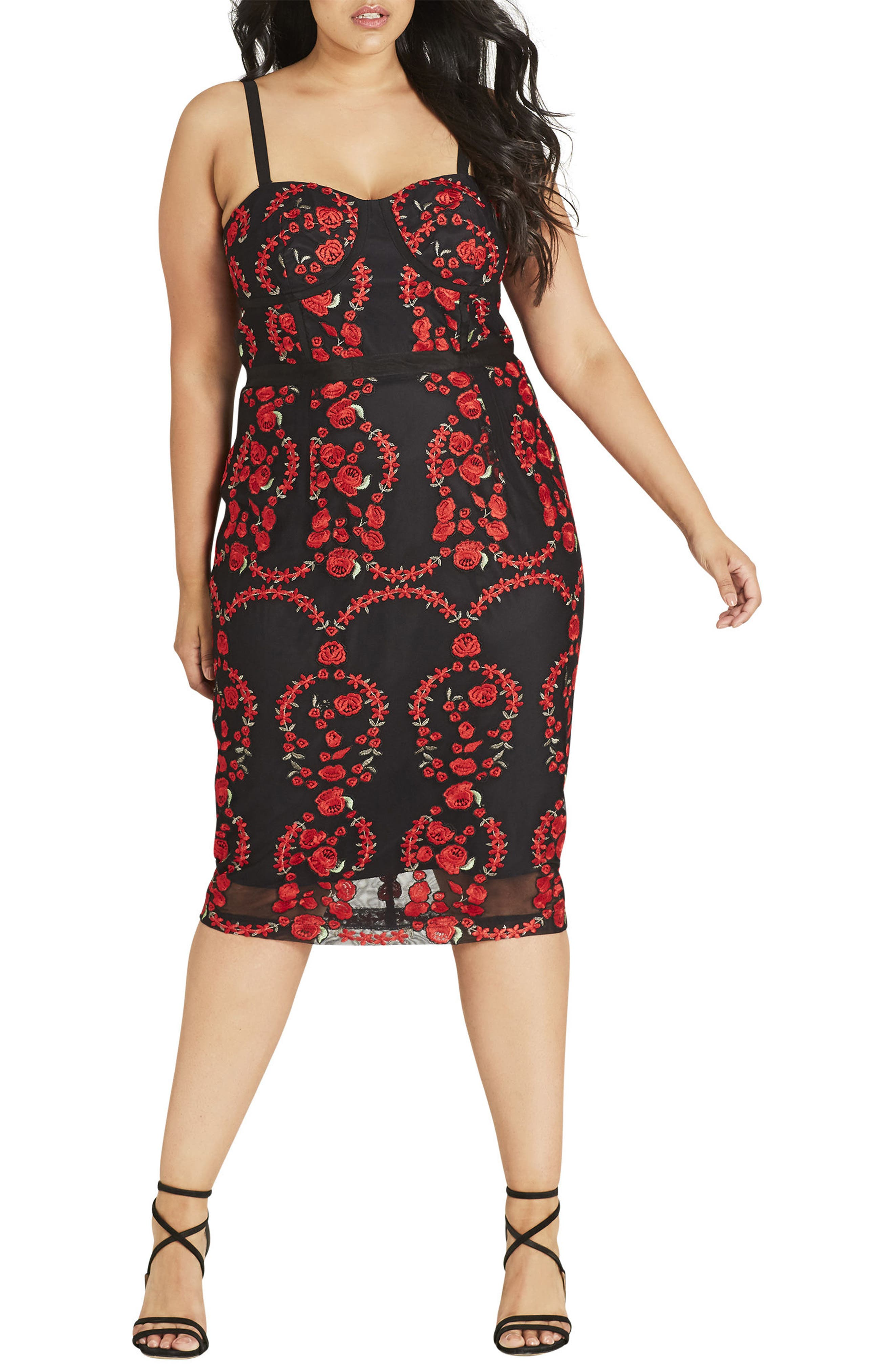 CITY CHIC, Dolce Rose Embroidered Corset Dress, Main thumbnail 1, color, BLACK