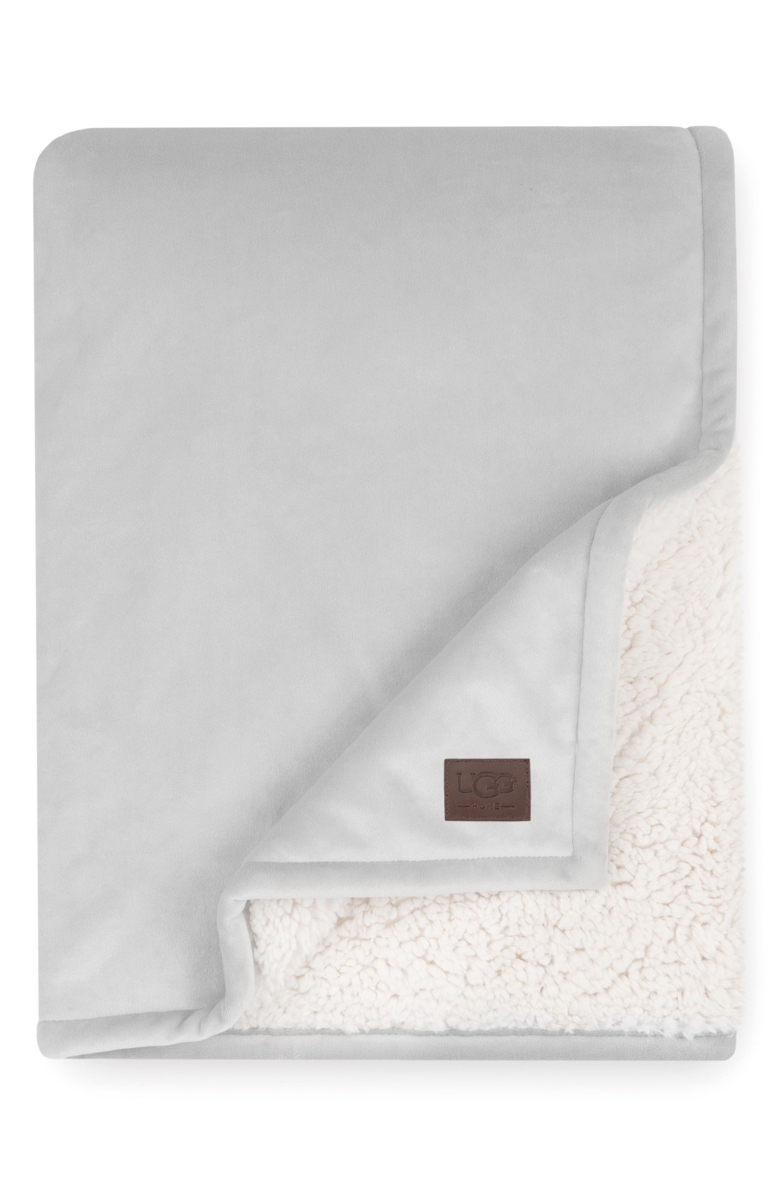 UGG<SUP>®</SUP>, Bliss Fuzzy Throw, Main thumbnail 1, color, SEAL