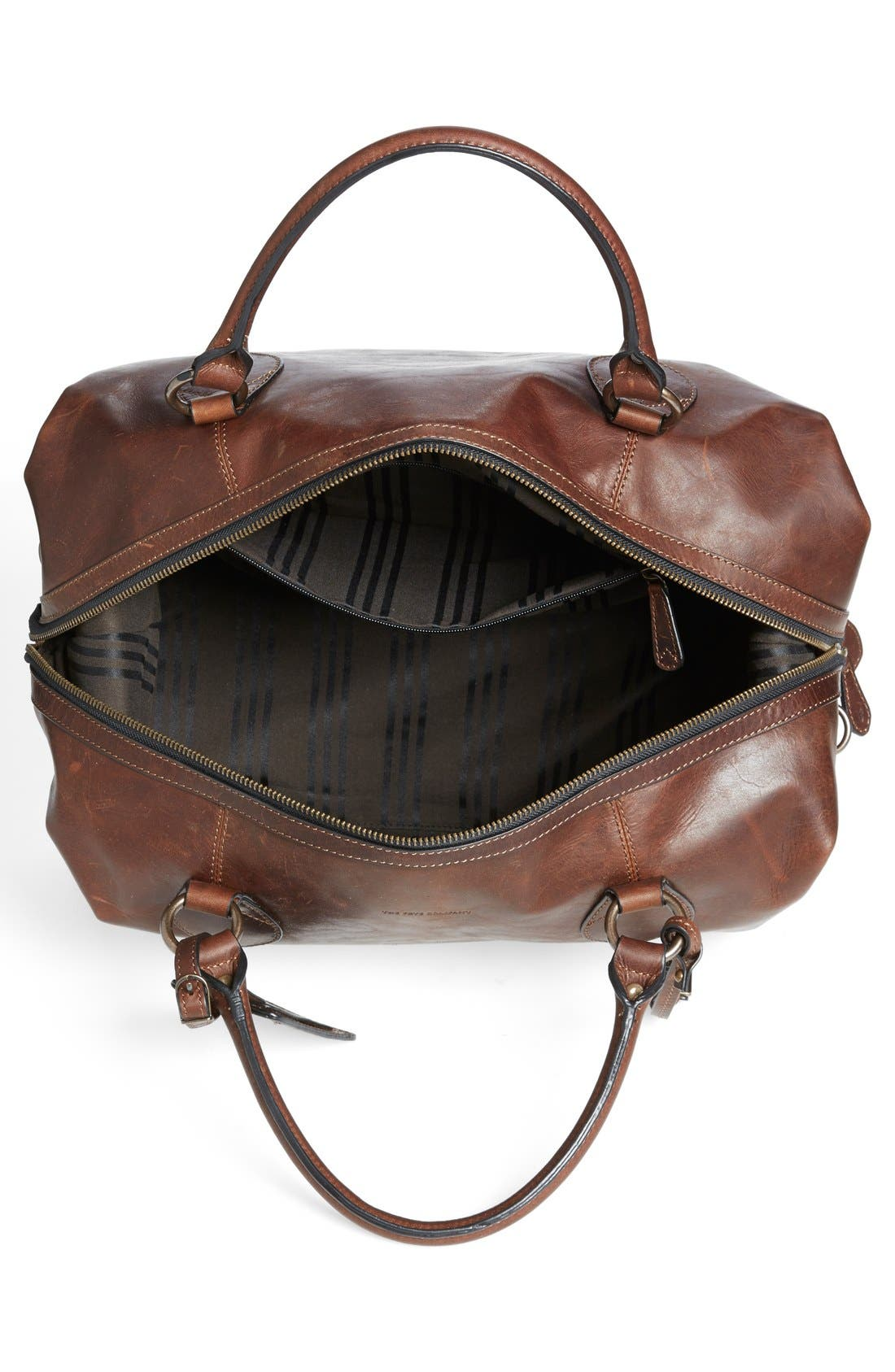 FRYE, 'Logan' Leather Overnight Bag, Alternate thumbnail 2, color, DARK BROWN