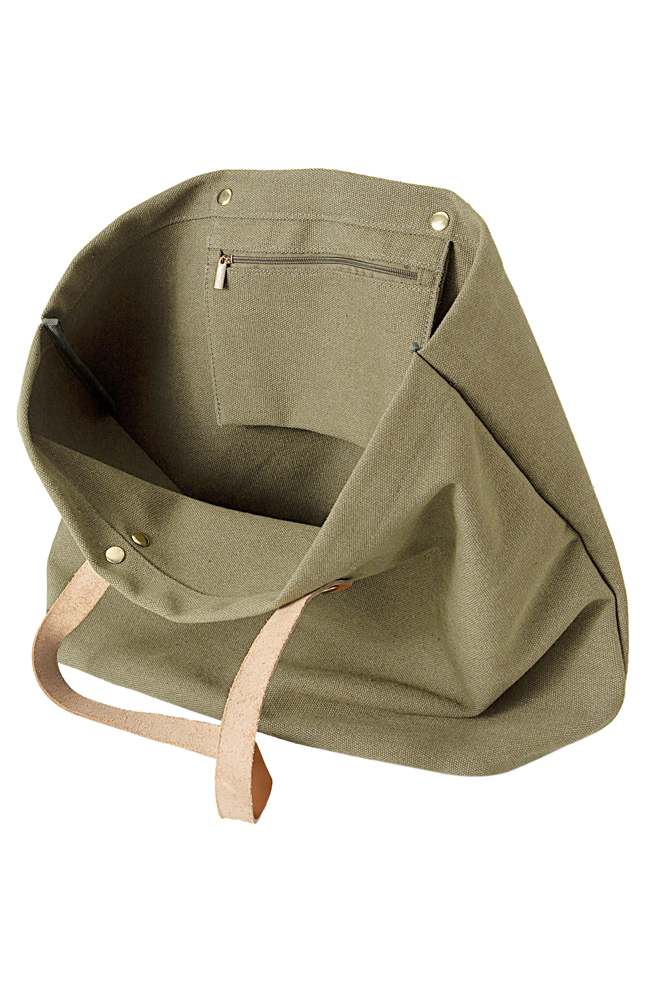 CATHY'S CONCEPTS, Monogram Washed Canvas Tote, Alternate thumbnail 2, color, LIGHT GREEN