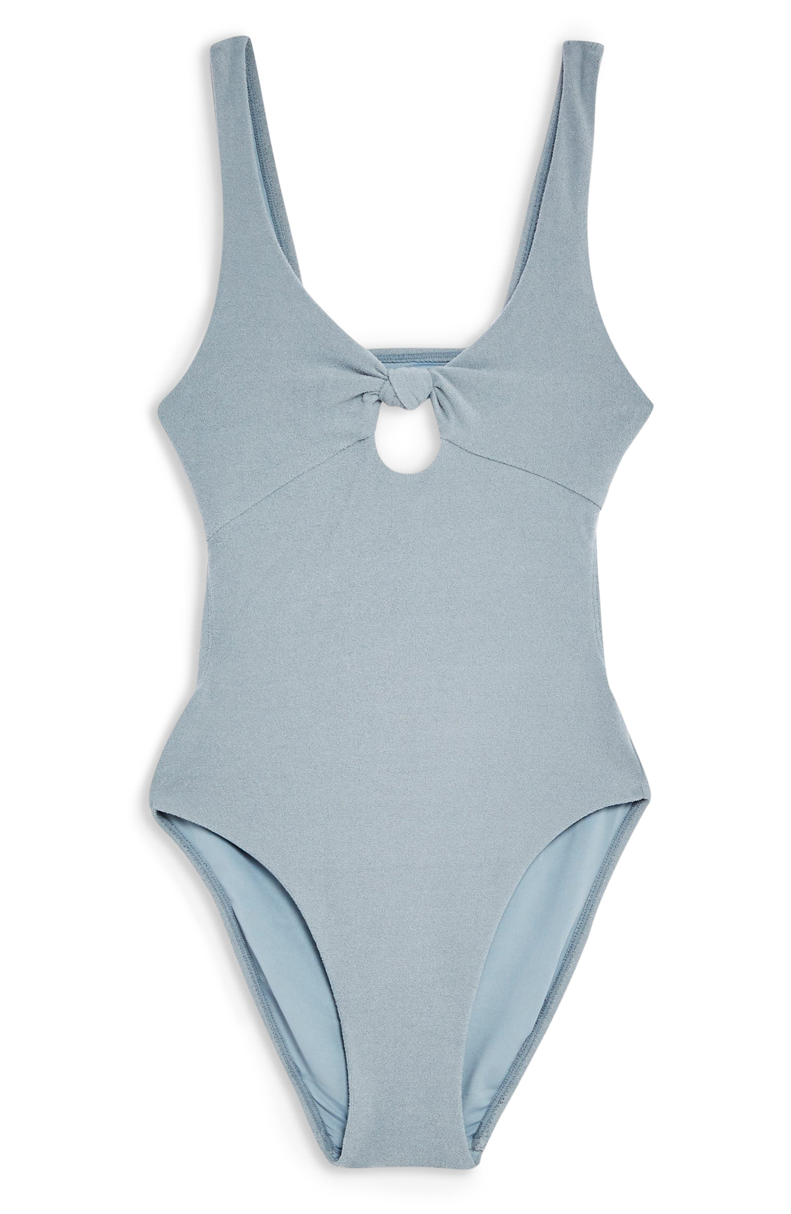 TOPSHOP, Knot Velour One-Piece Swimsuit, Alternate thumbnail 3, color, GREY