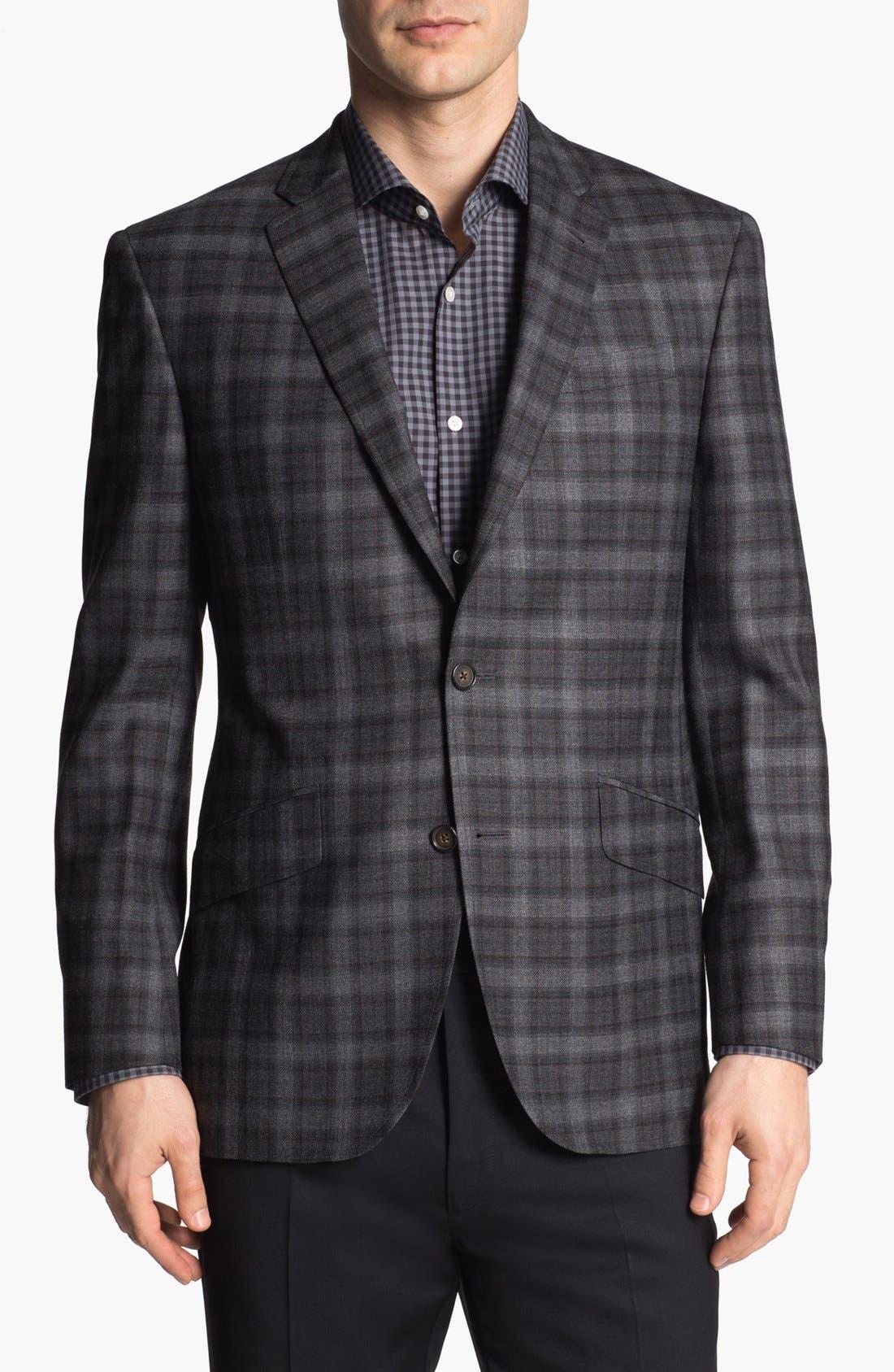 TED BAKER LONDON, 'Jones' Trim Fit Plaid Sportcoat, Main thumbnail 1, color, 020