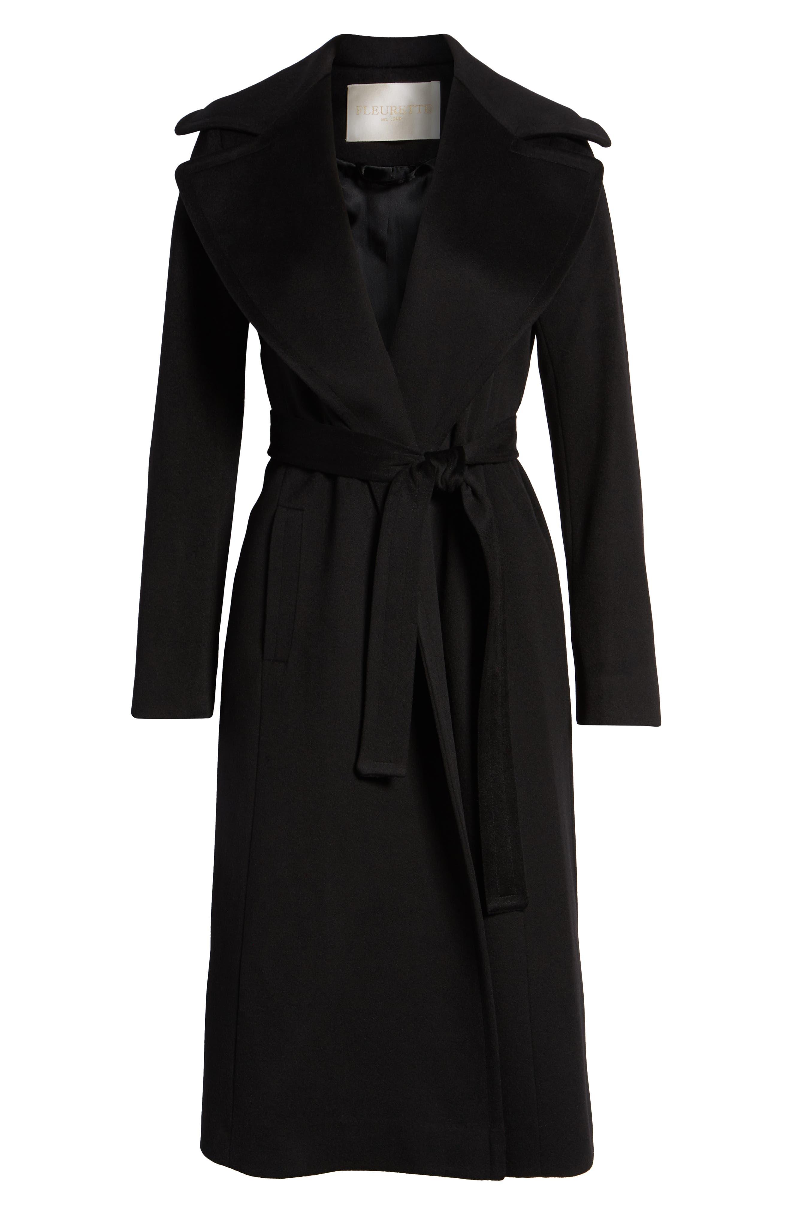 FLEURETTE, Loro Piana Wool Wrap Coat, Alternate thumbnail 6, color, 001