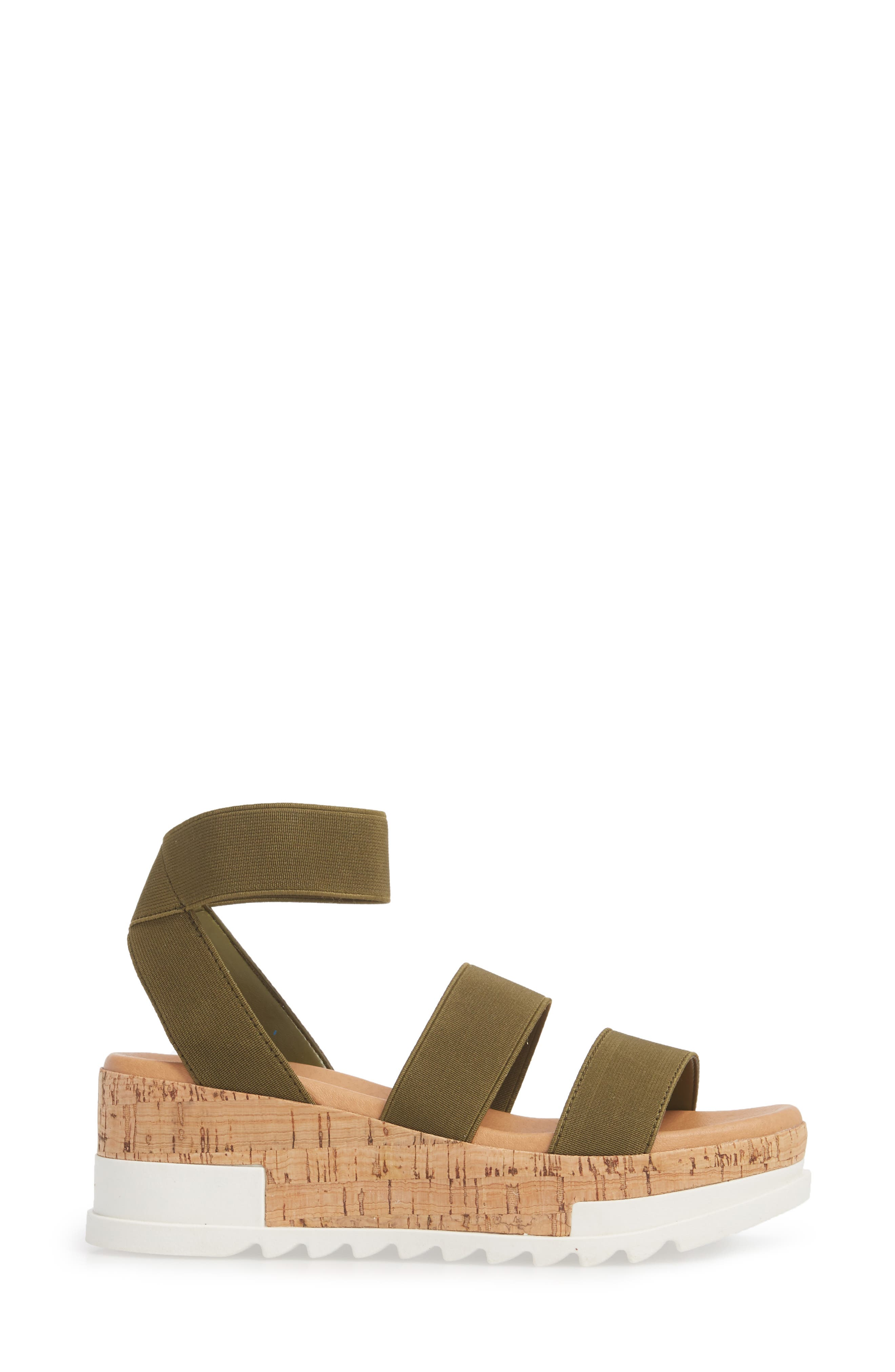 STEVE MADDEN, Bandi Platform Wedge Sandal, Alternate thumbnail 3, color, OLIVE