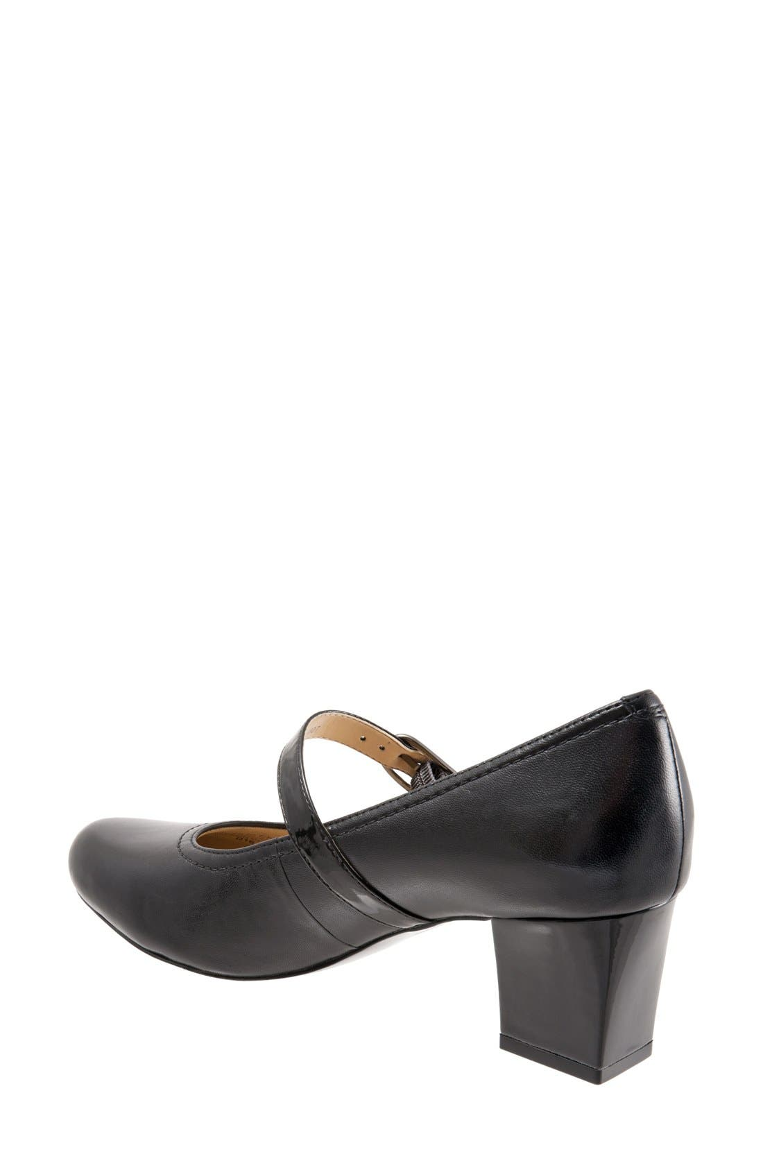 TROTTERS, 'Candice' Mary Jane Pump, Alternate thumbnail 6, color, BLACK LEATHER