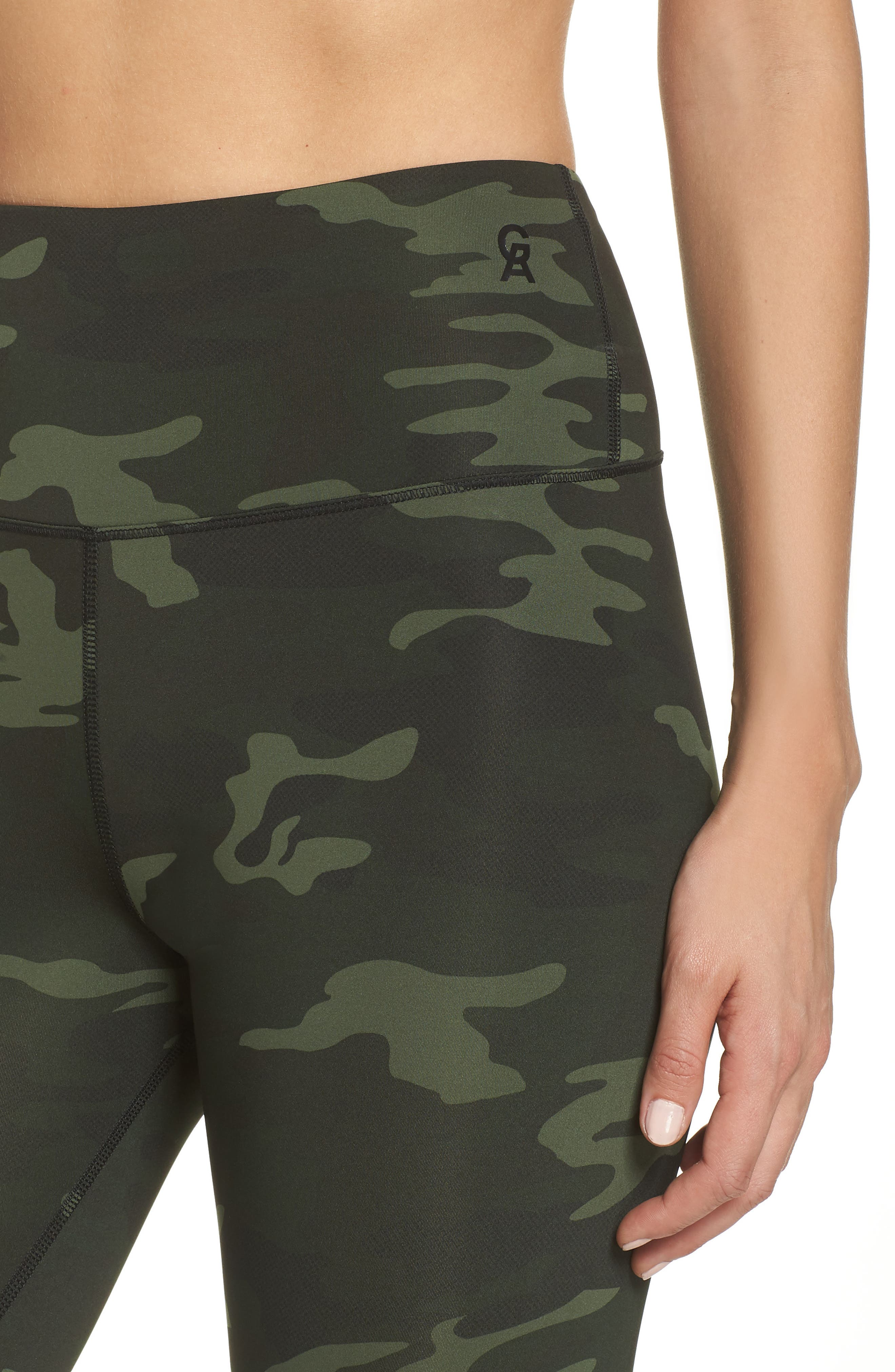 GOOD AMERICAN, Core Strength High Waist Leggings, Alternate thumbnail 5, color, CAMO001