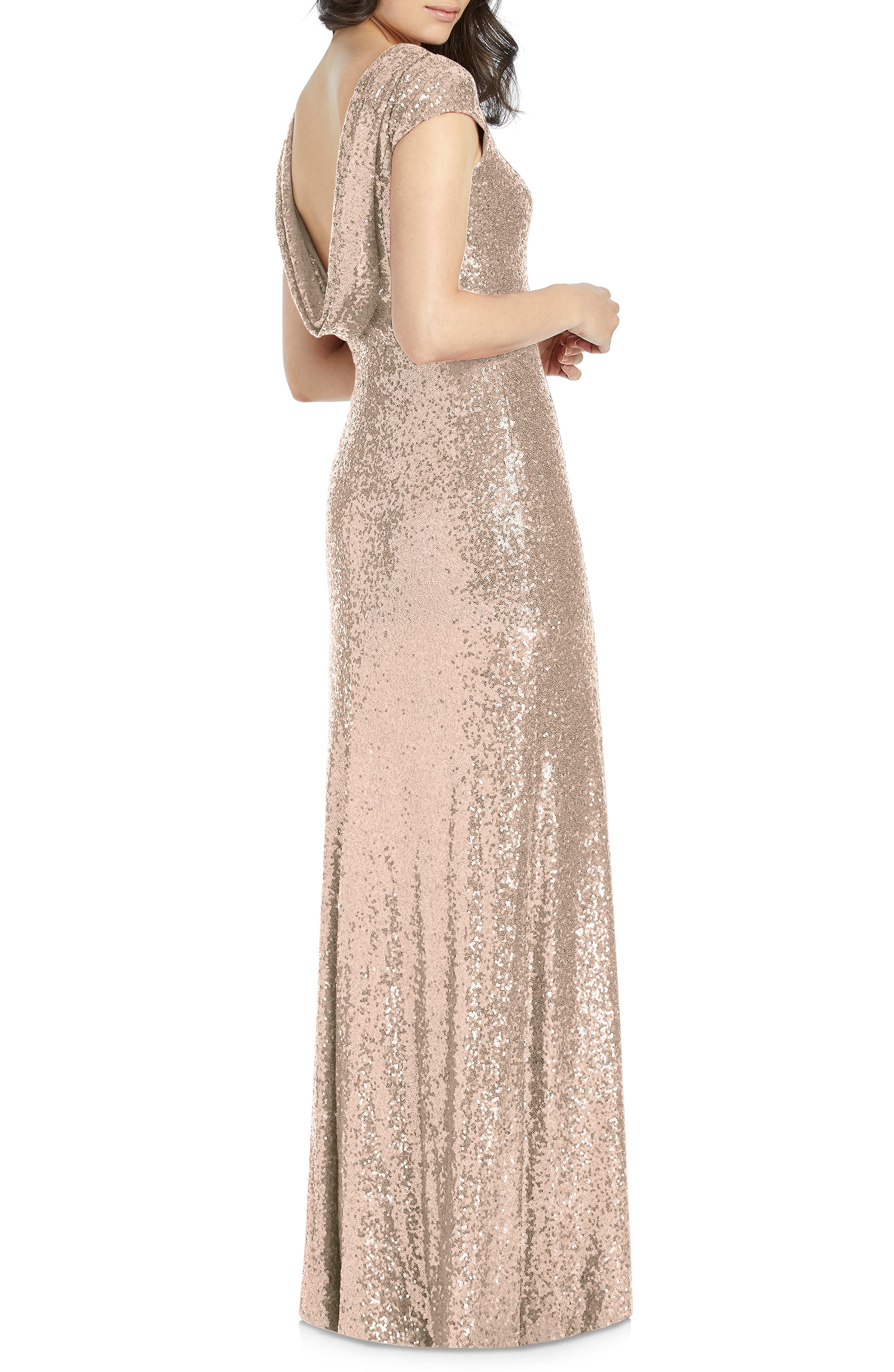 DESSY COLLECTION, Elle Cap Sleeve Sequin Gown, Alternate thumbnail 2, color, ROSE GOLD