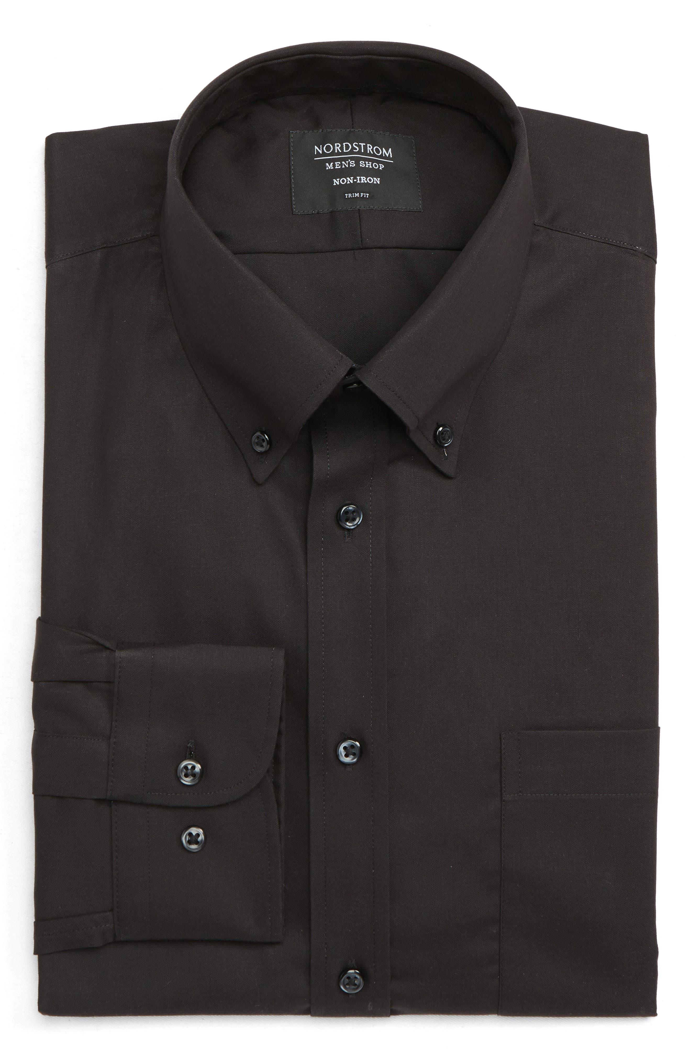 NORDSTROM MEN'S SHOP, Trim Fit Non-Iron Dress Shirt, Alternate thumbnail 5, color, BLACK
