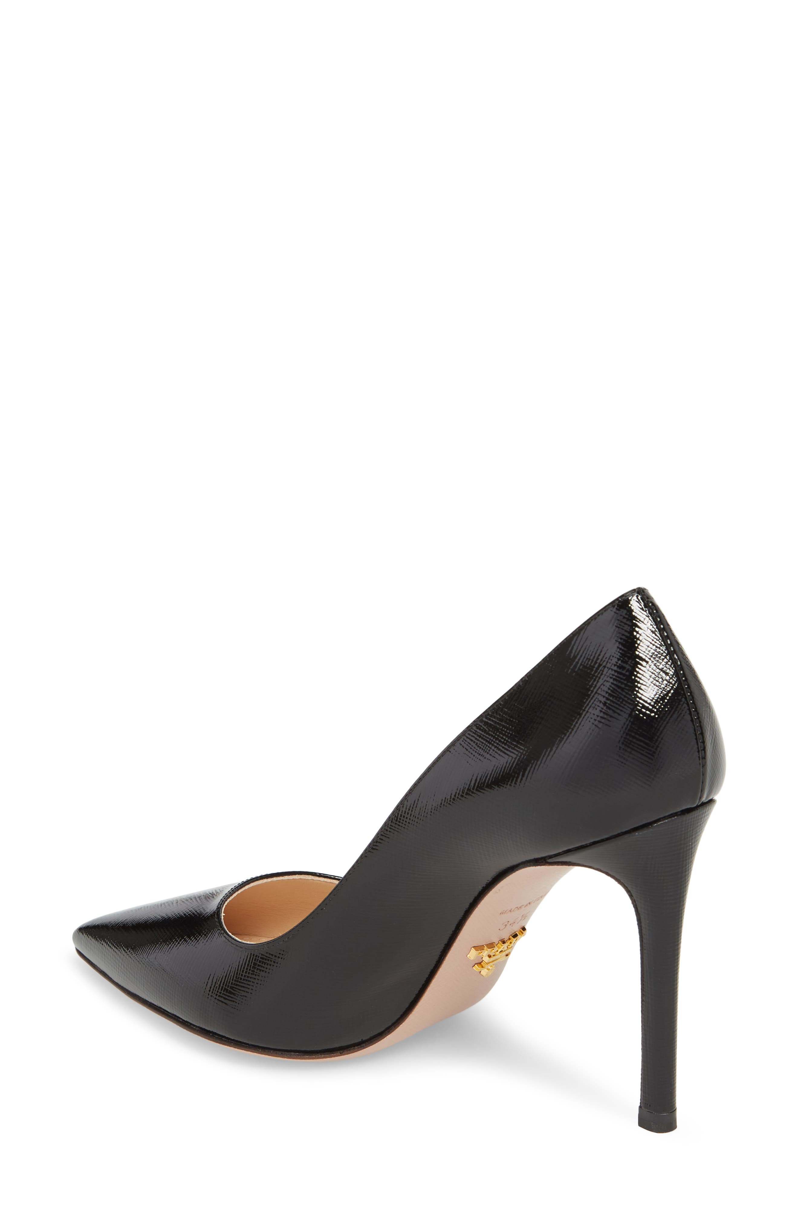 PRADA, Pointy Toe Pump, Alternate thumbnail 2, color, BLACK
